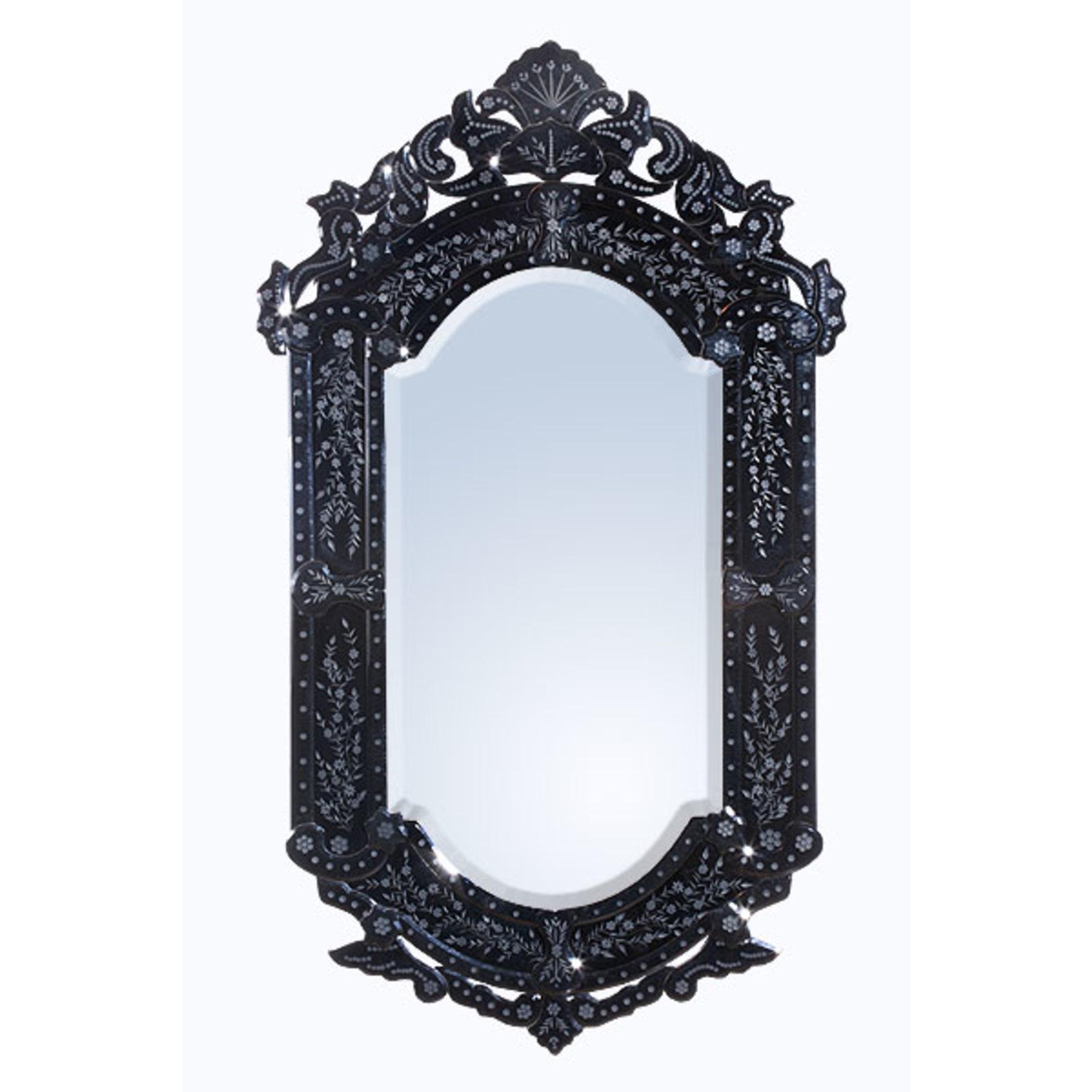 Vintage Venezia Etched Wall Mirror - Black