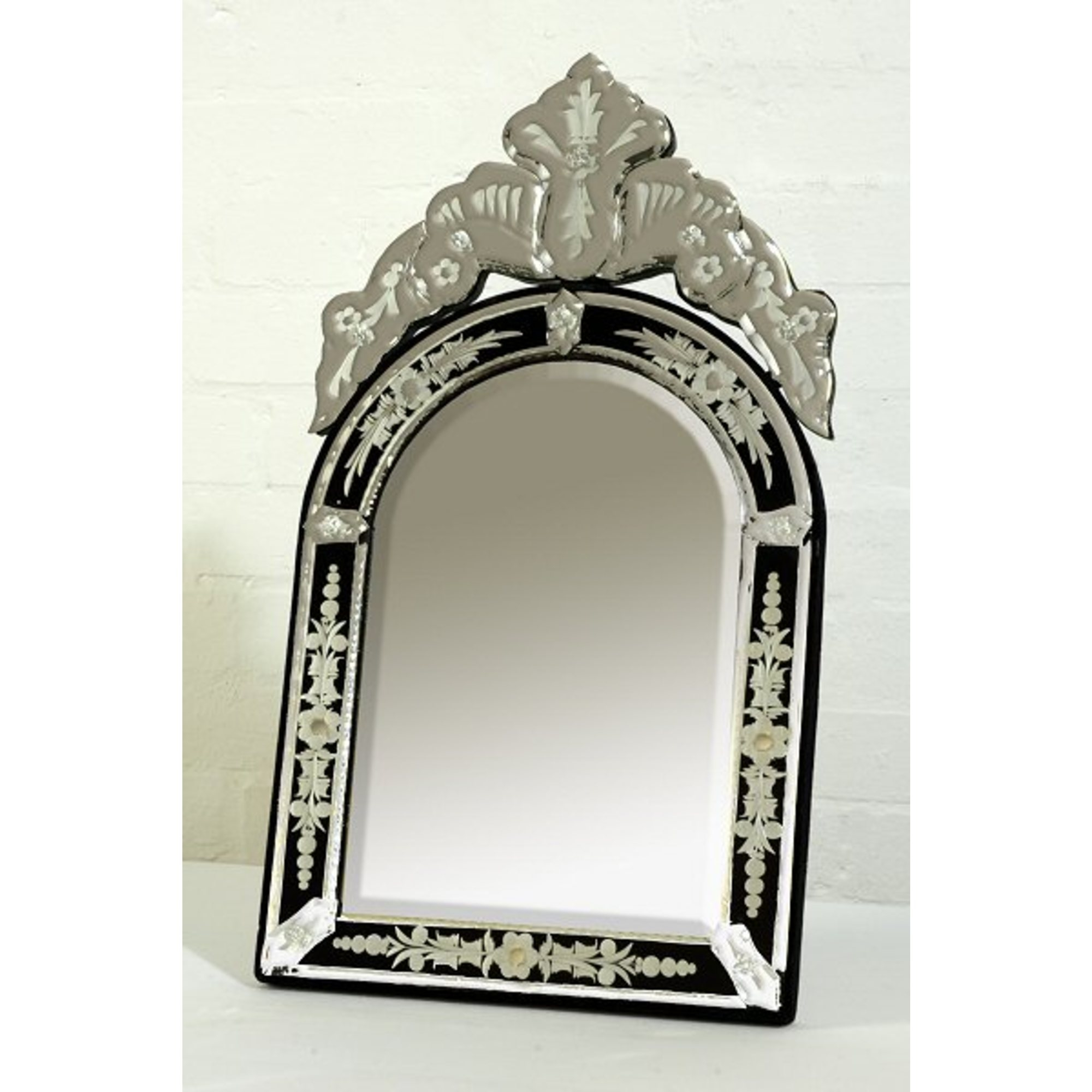 Venetian Arched Clear & Black Etched Table or Wall Mirror