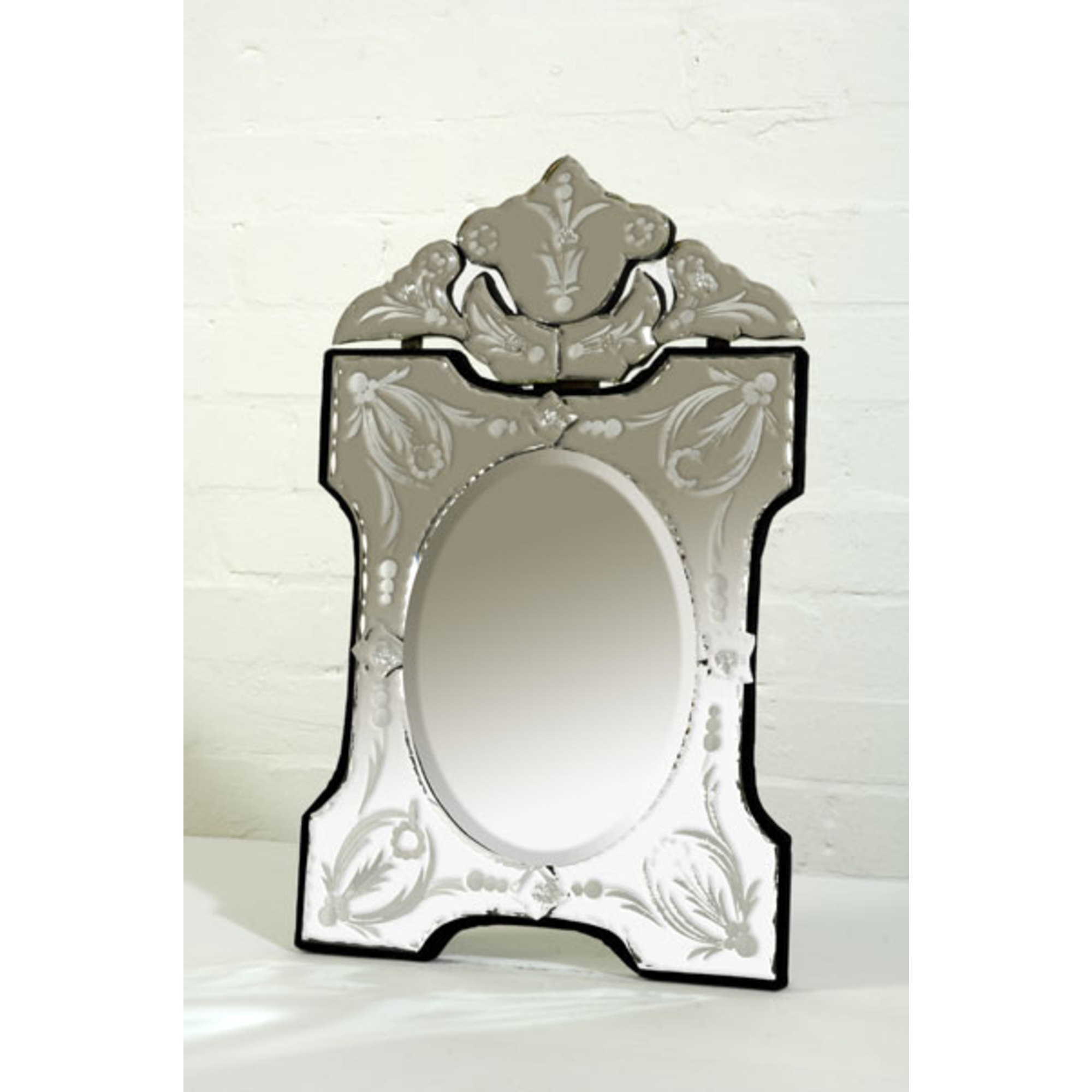 Venetian Scalloped & Arched Clear Decorative Table or Wall Mirror