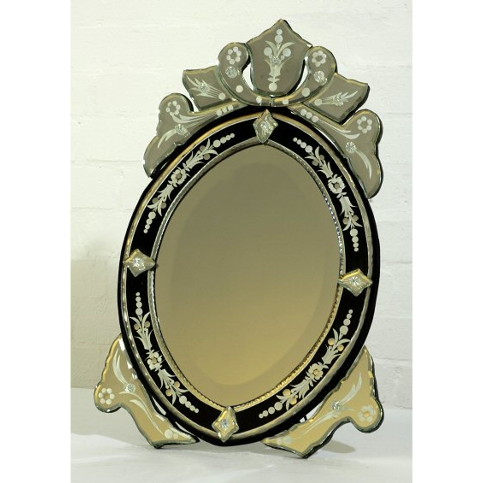 Venetian Oval Black & Clear Etched Decorative Table or Wall Mirror