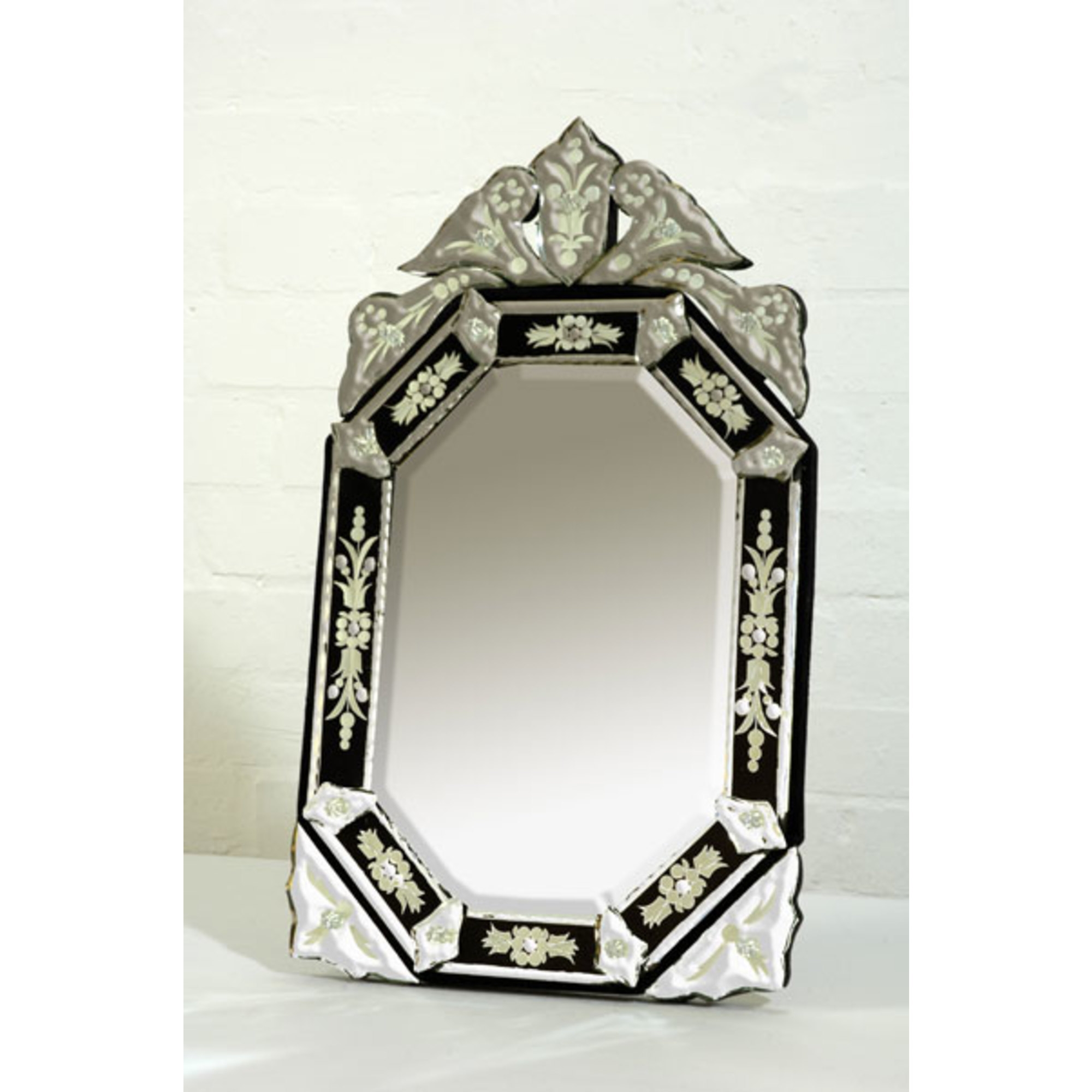 Venetian Hexagonal Etched Table Mirror - Black and Clear