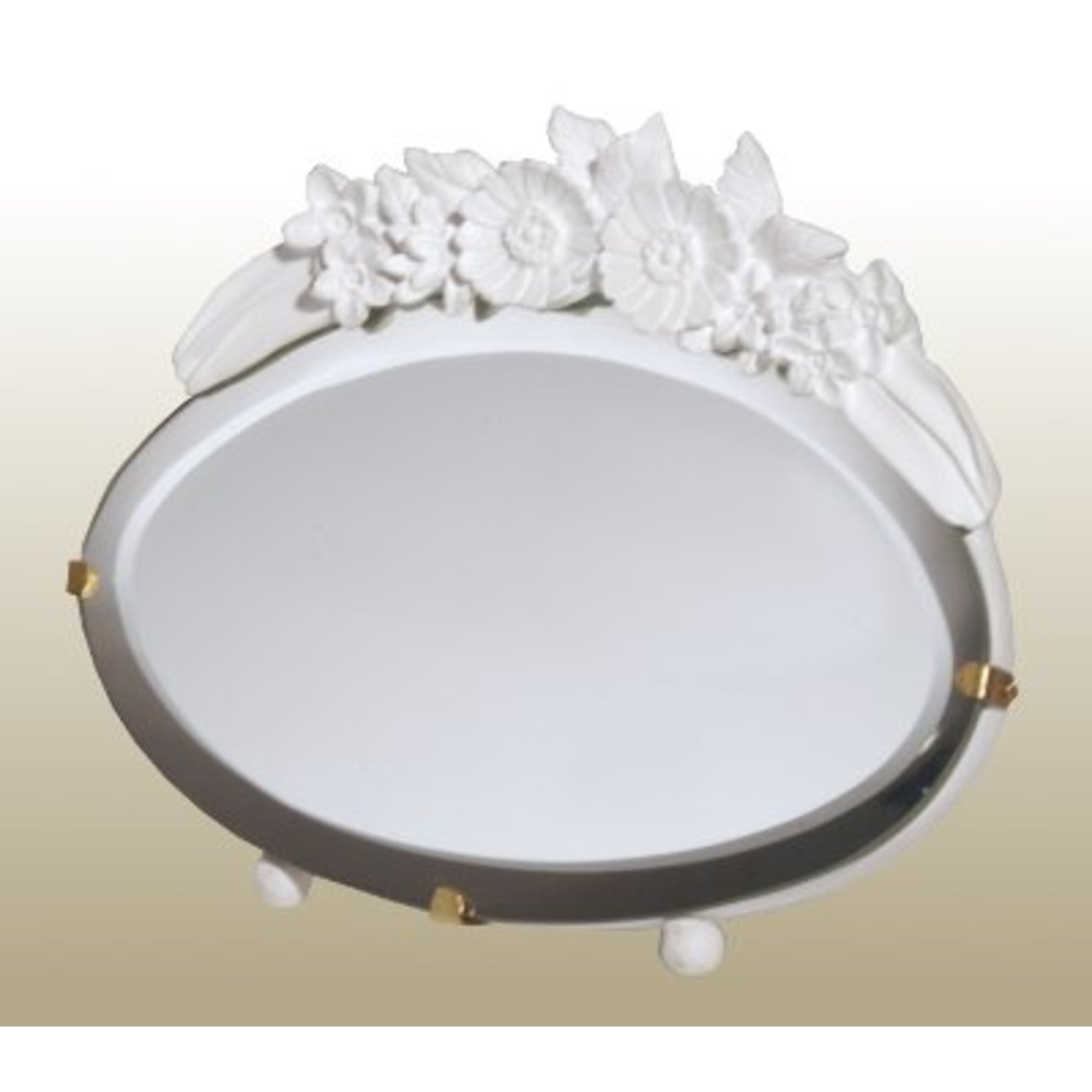 Barbola Floral White Chalk Paint Oval Decorative Table or Wall Mirror