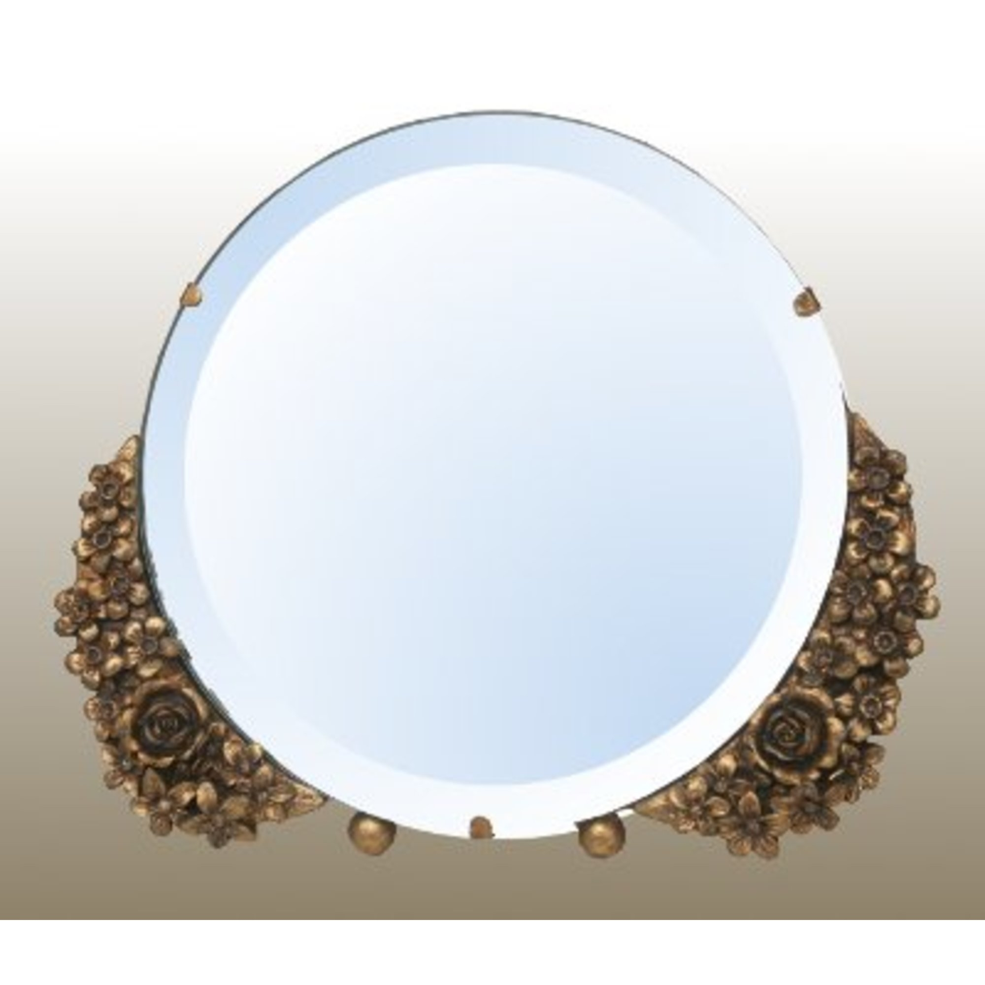 Barbola Floral Gold Gilt Leaf Round Decorative Table or Wall Bedroom Mirror