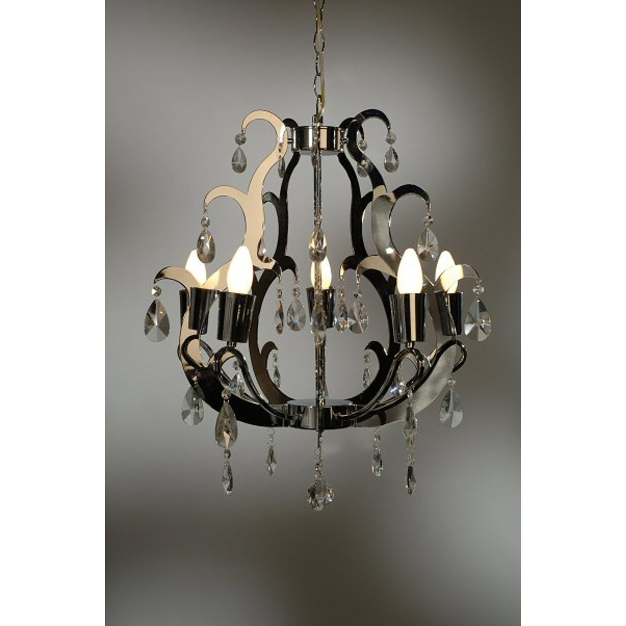 Acrylic Cut 5 Light Chandelier - Chrome and Clear