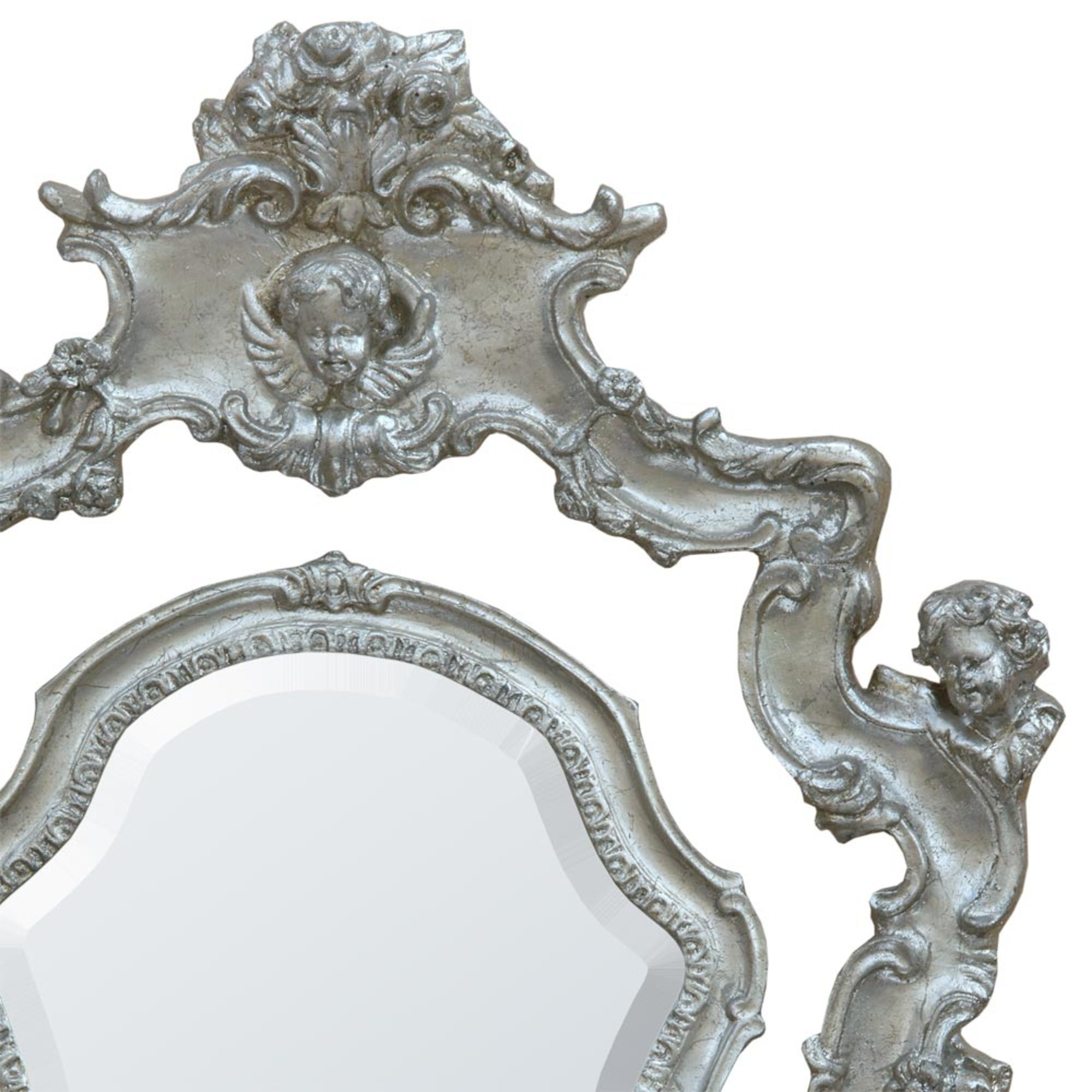 French Antique Champagne Silver Gilt Leaf Swing Table Mirror with Cherubs