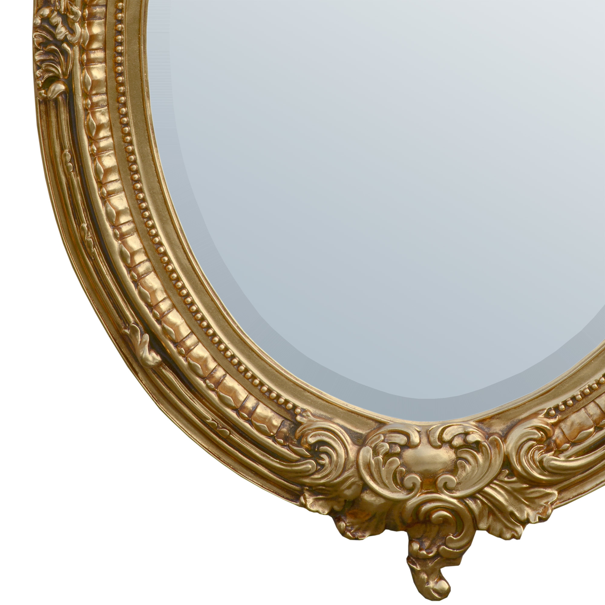 Almandine French Rococo Antique Gold Leaf Oval Large Mirror