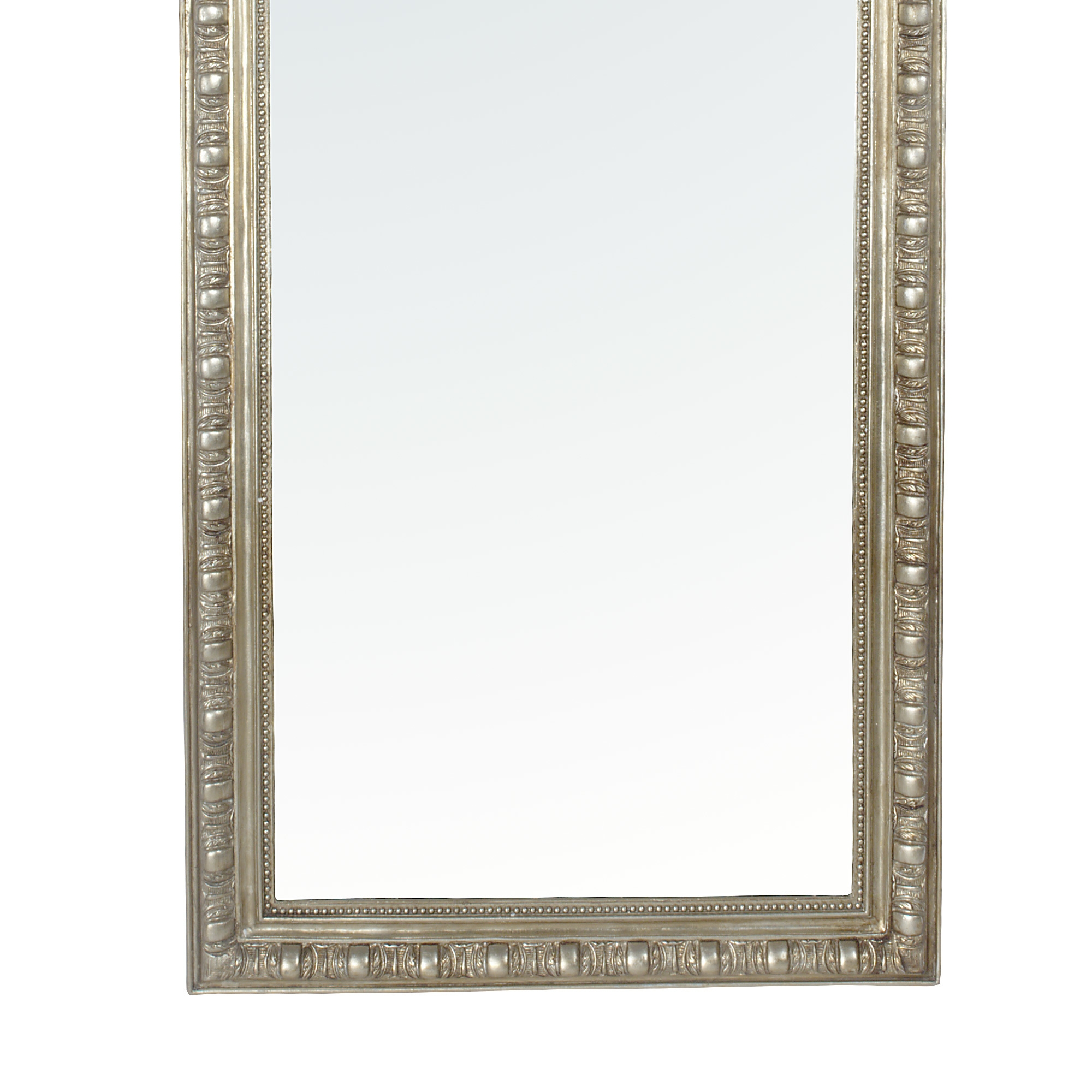 French Rococo Champagne Silver Gilt Leaf Bevelled  Mirror