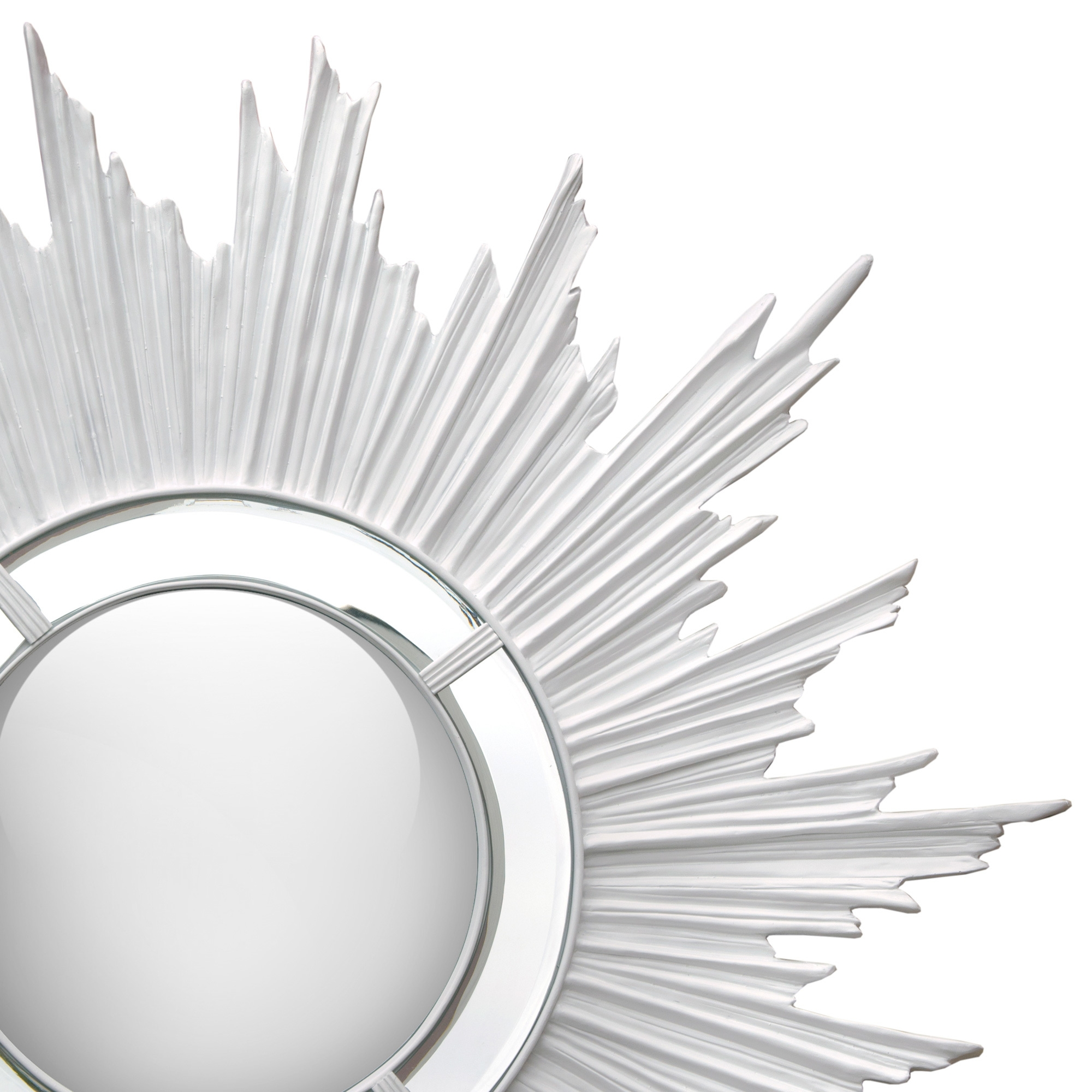 Sunburst Convex Wall Mirror - White