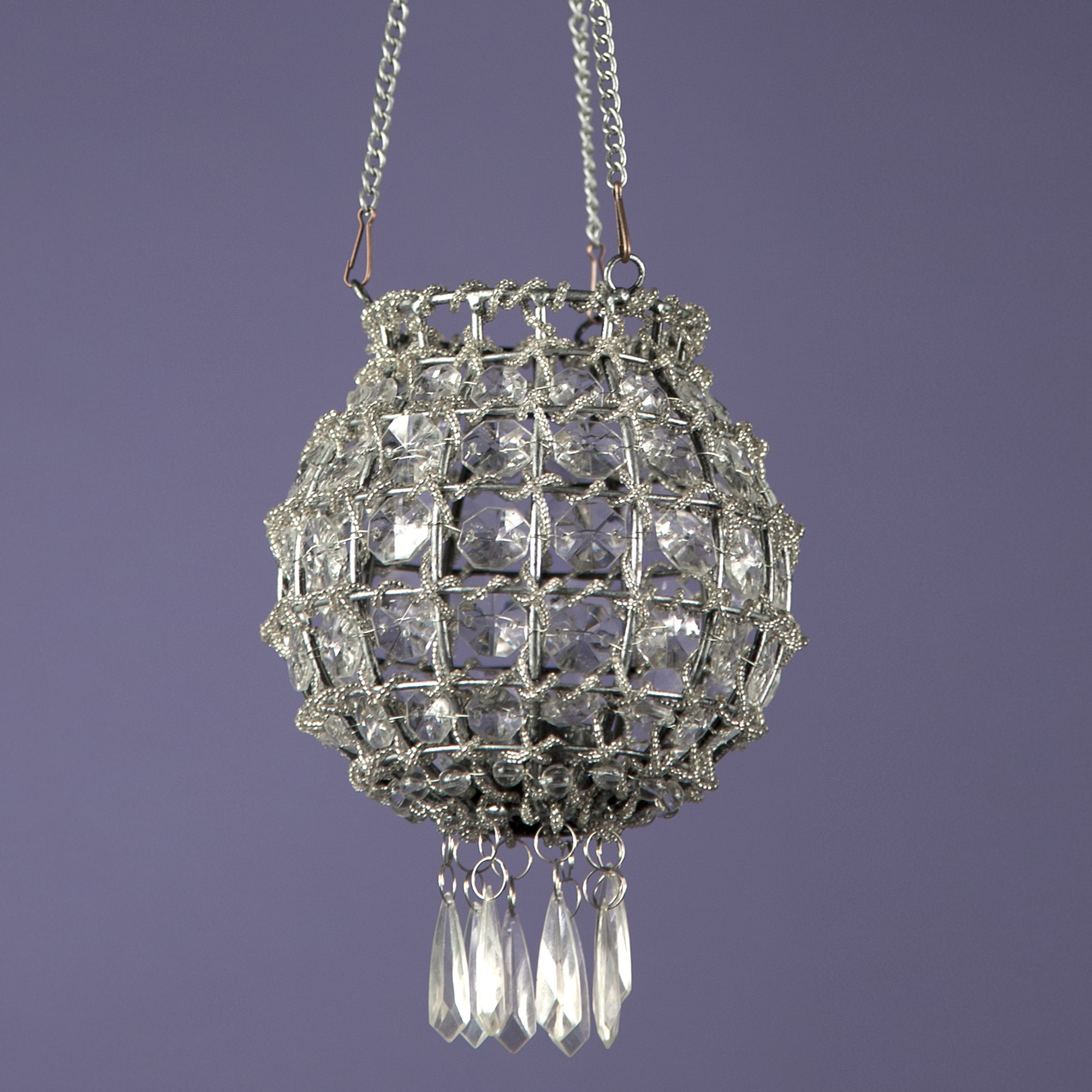 Jewelled Tealight Holder - Antique Silver