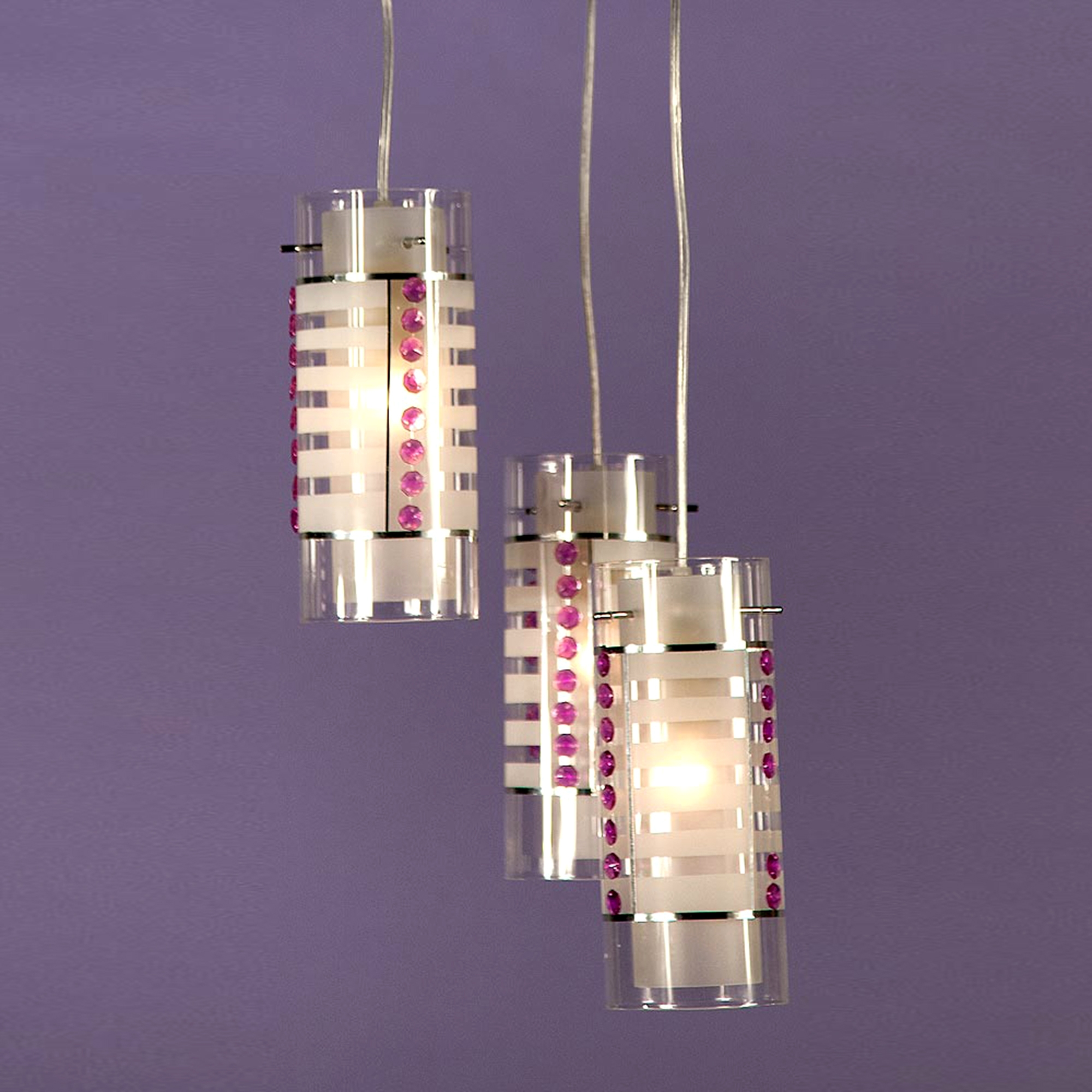Candy Stripe Pendant Light - White, Pink