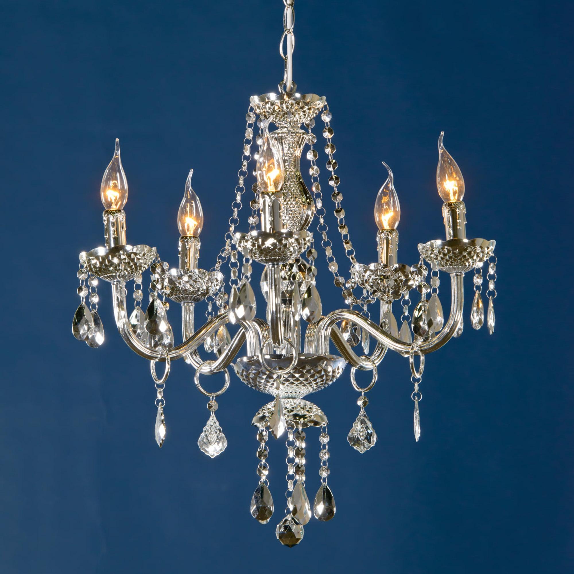 Glimmer 5 Light Chandelier - Silver