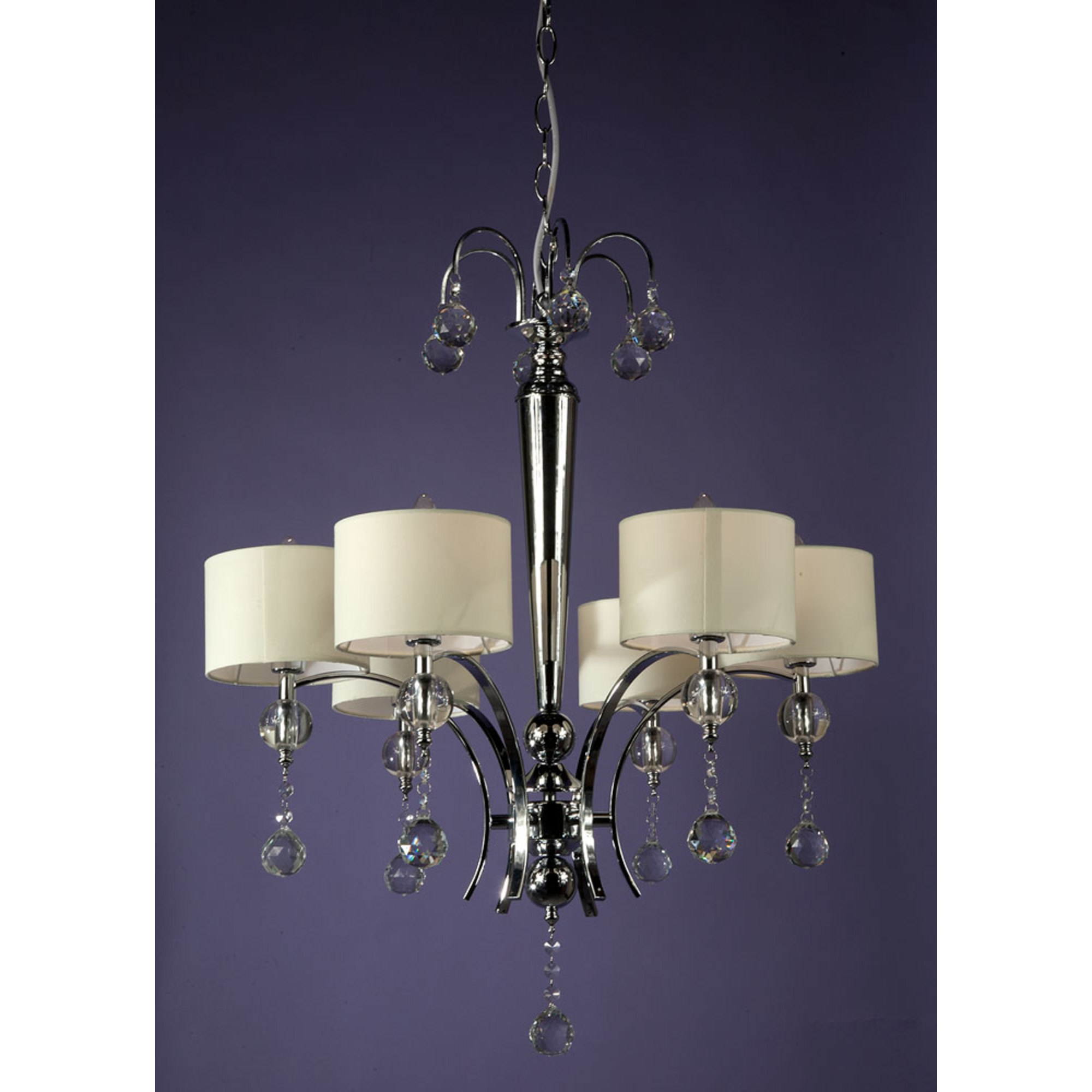 6 Light Chandelier - Chrome and White