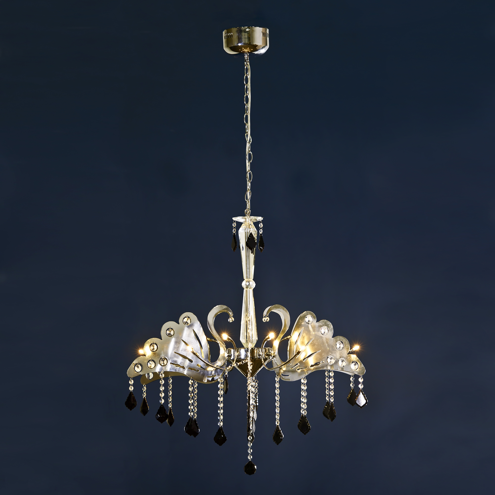 Swan Chandelier Light - Chrome, Black and Clear