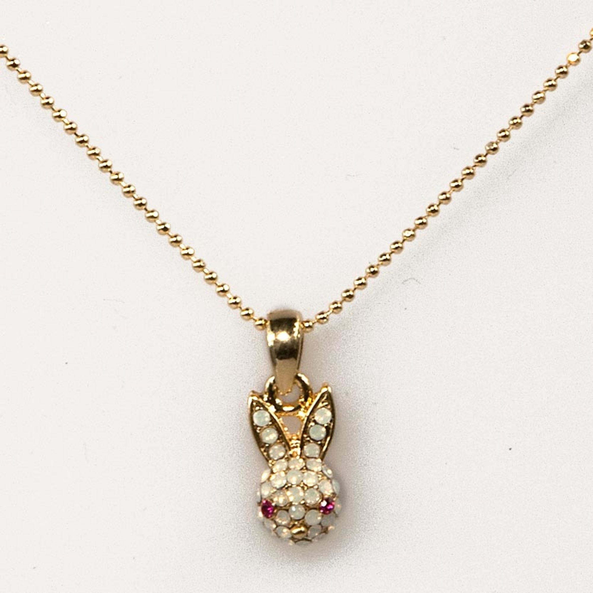 White Opal Gold Mini Rabbit Necklace