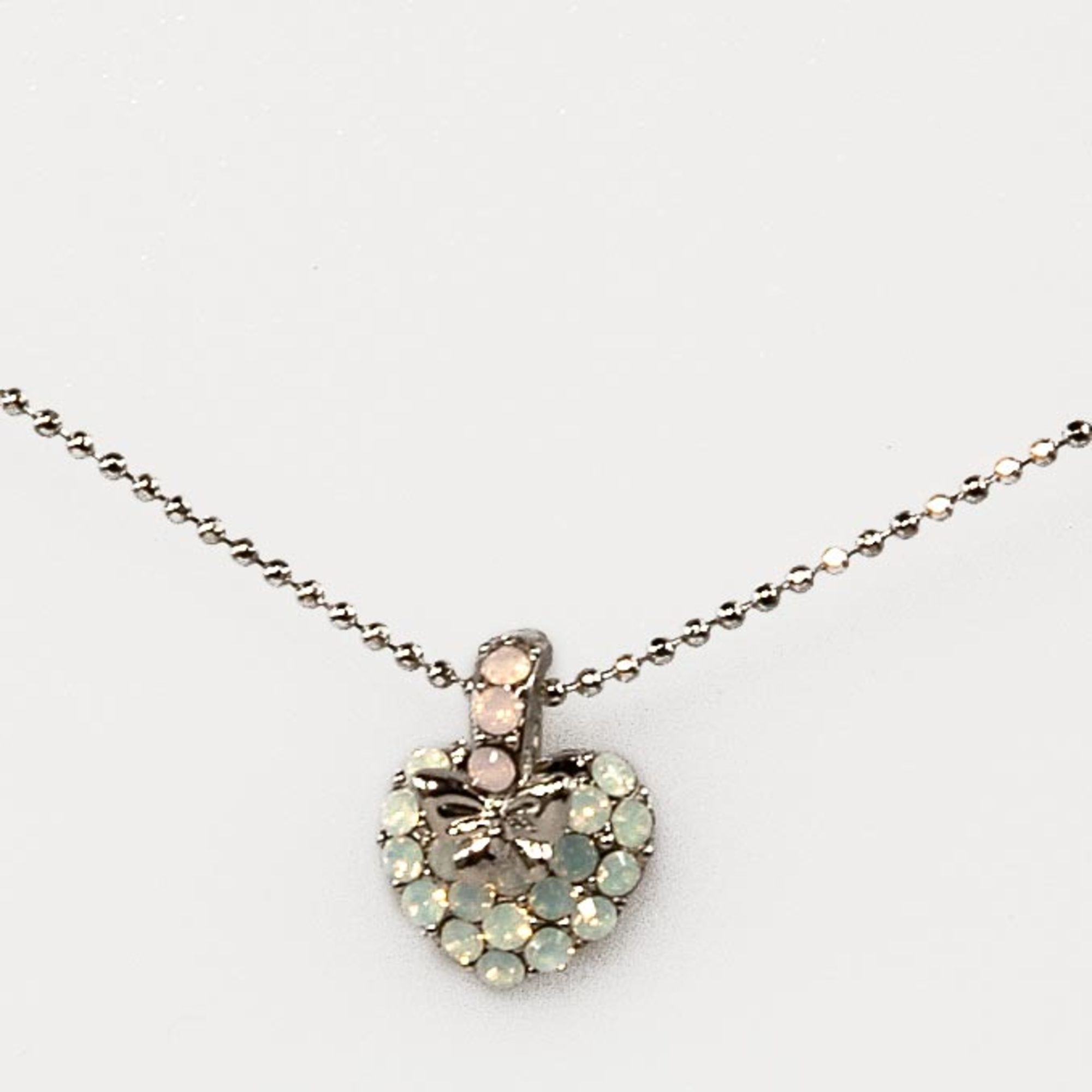 White Opal PKW Heart Butterfly Necklace