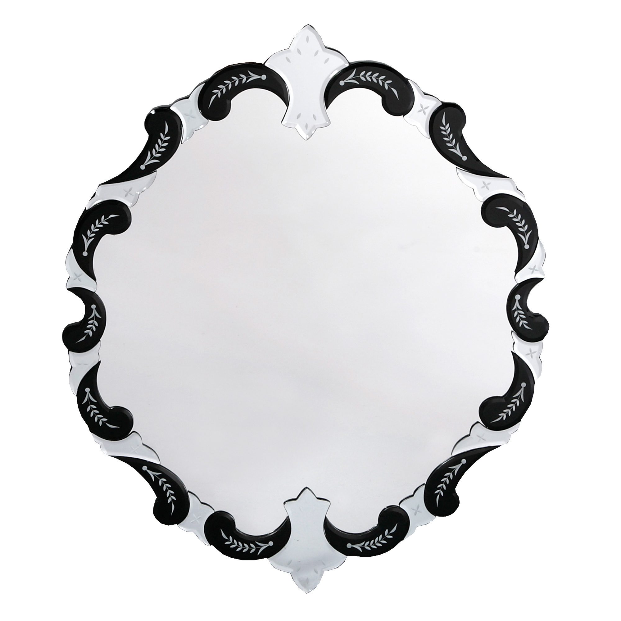 Venetian Etched Wall Mirror - Black