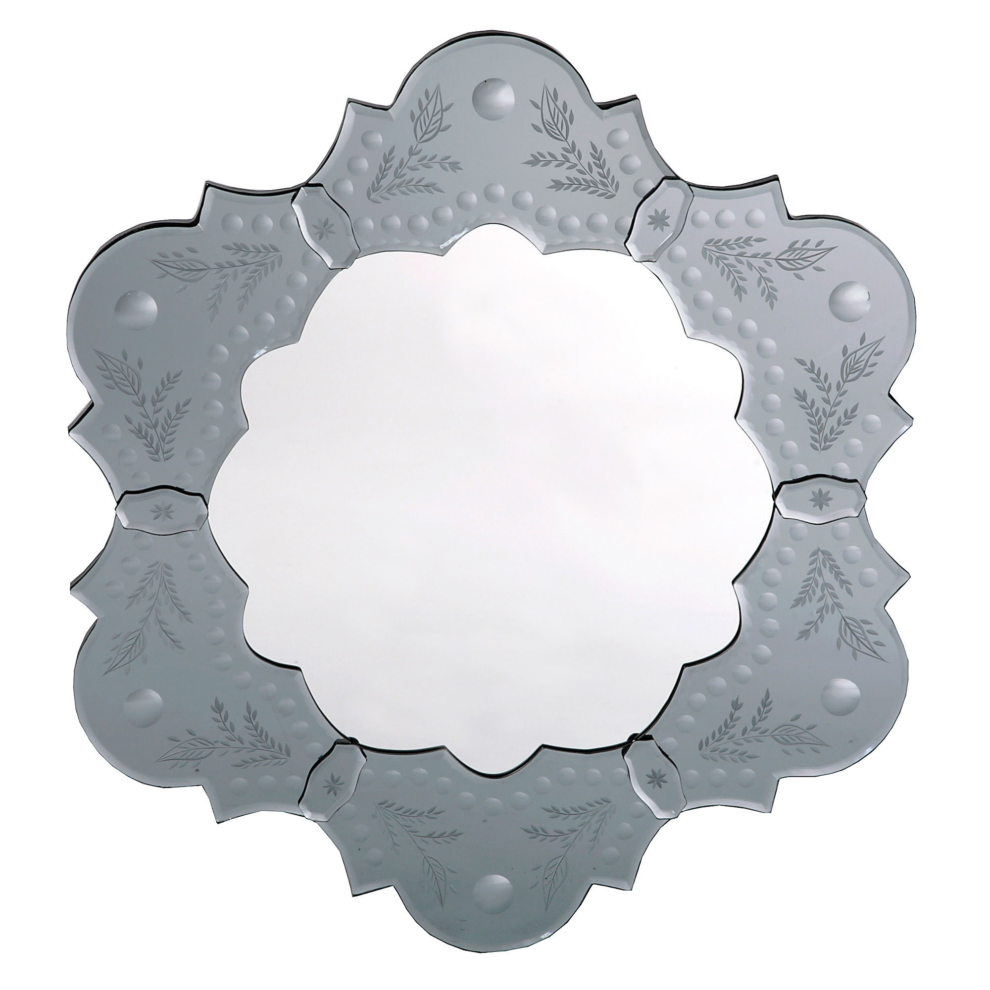Venetian Etched Petal Mirror - Antique Silver