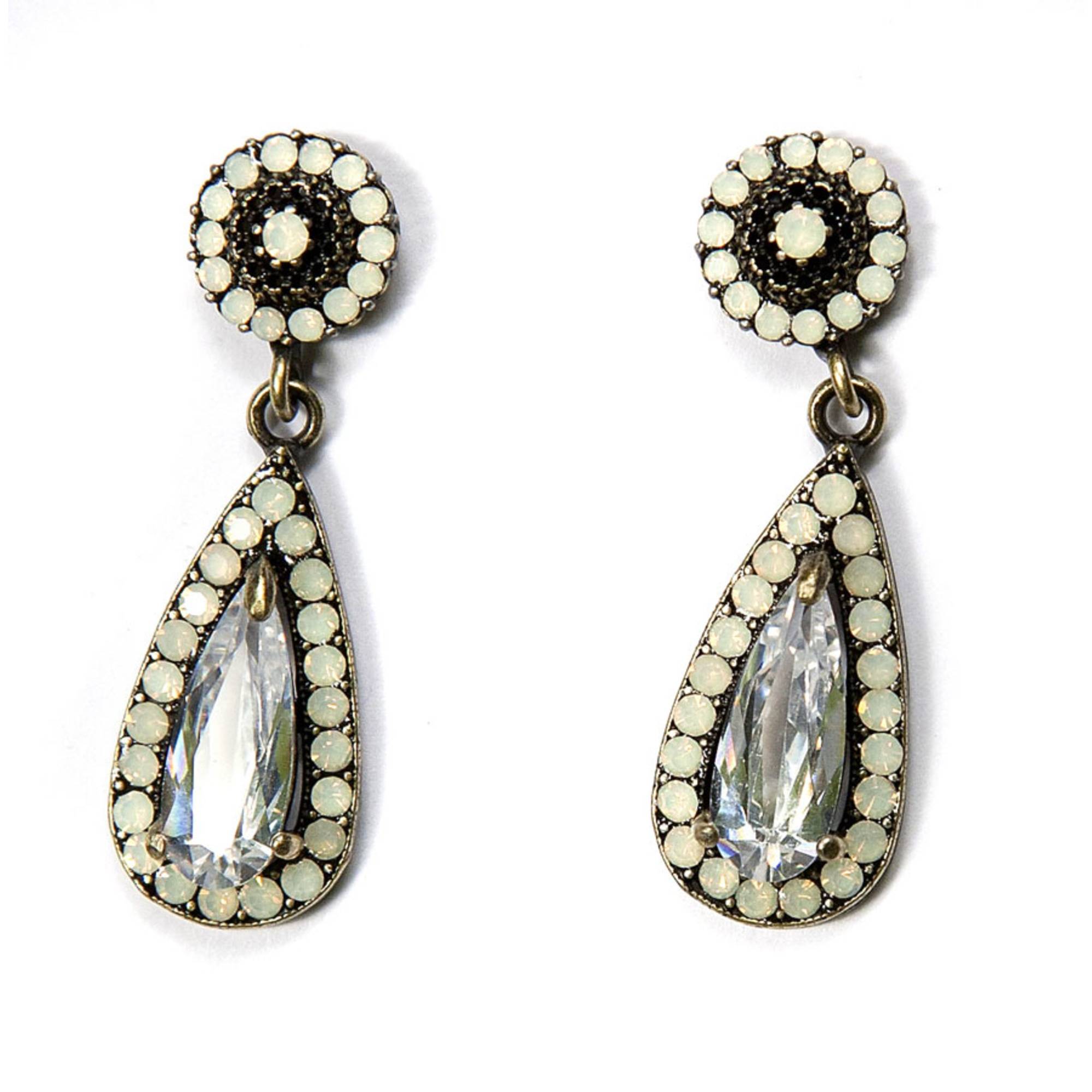 Tear Drop Earring - White Opal Silver