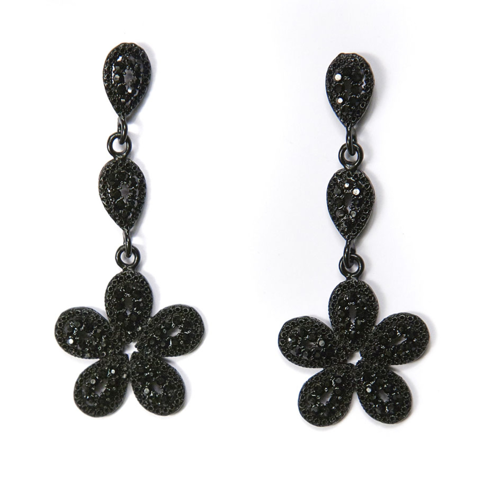 Flower Drop Earring - Black