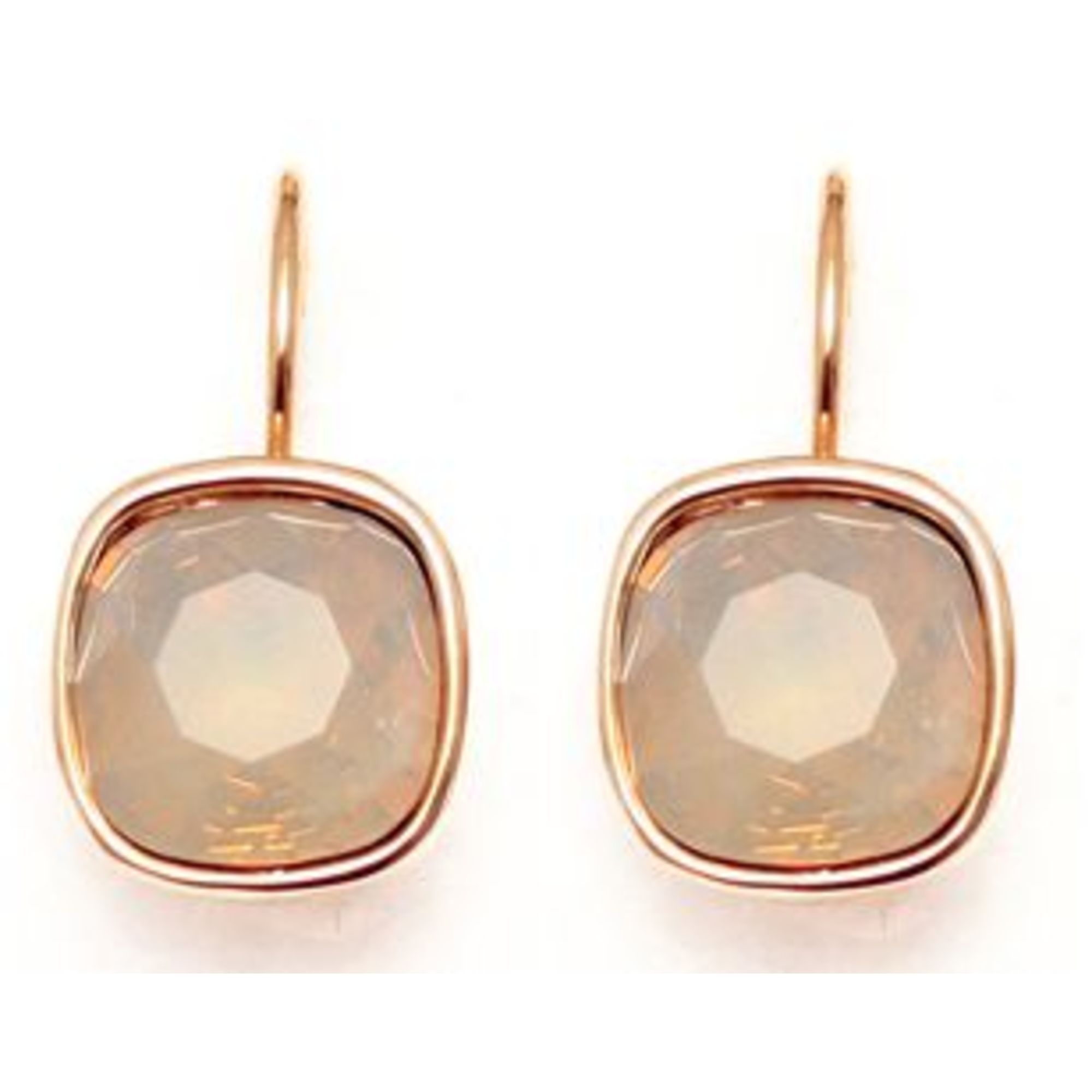 Solid Square Drop Earring - White Opal Gold