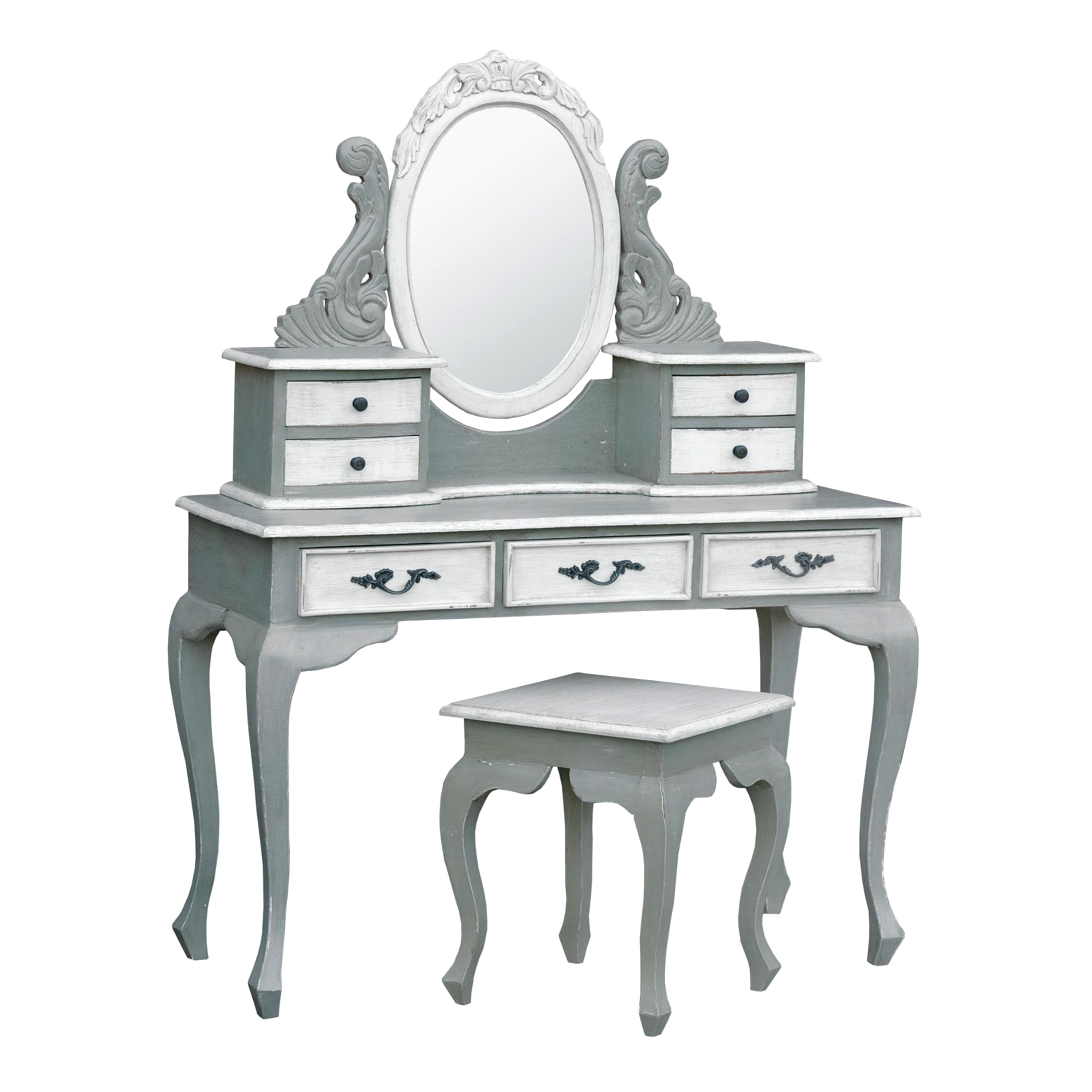 Isabella Dressing Table Set - Grey and White