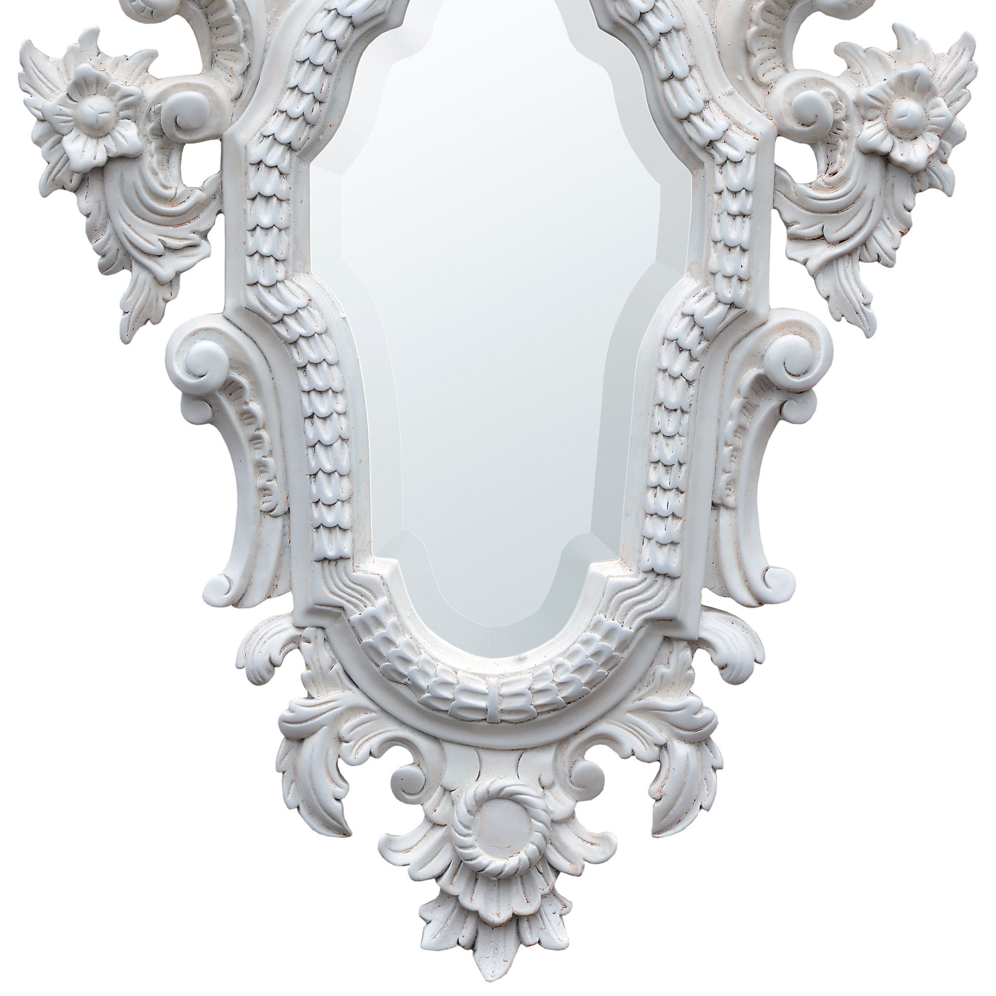 French Rococo Hand Carved Wooden Antique White Decorative Wall Mirror