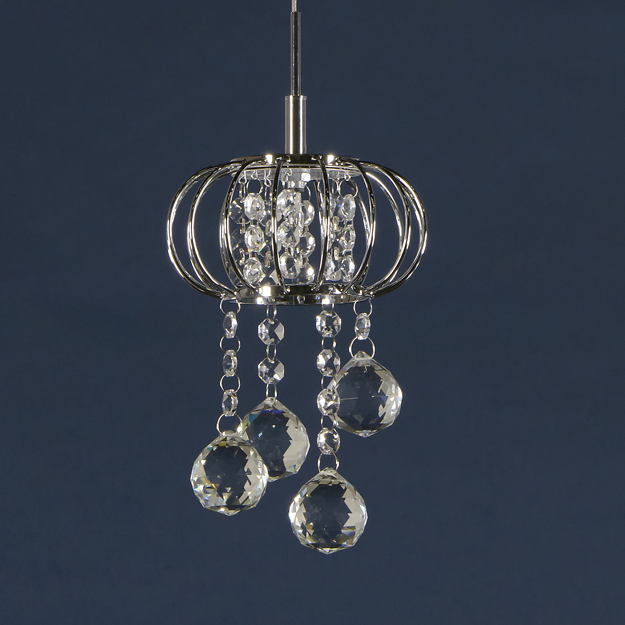 Crystal 1 Light Chandelier - Chrome and Clear