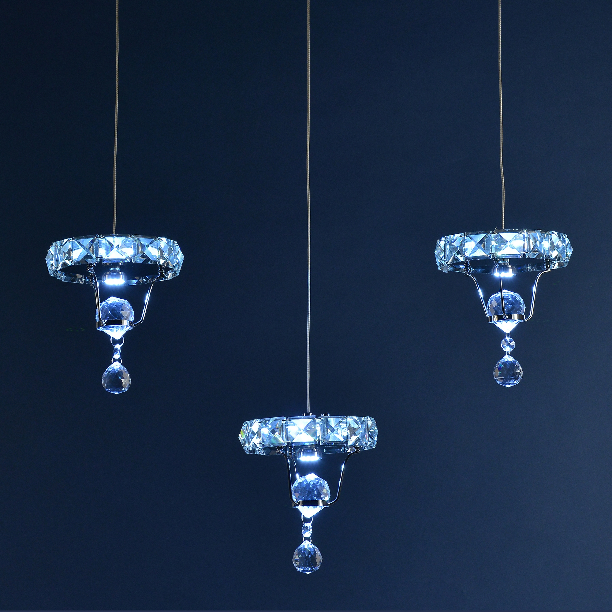 Crystal 3 Light Chandelier - Chrome and Blue