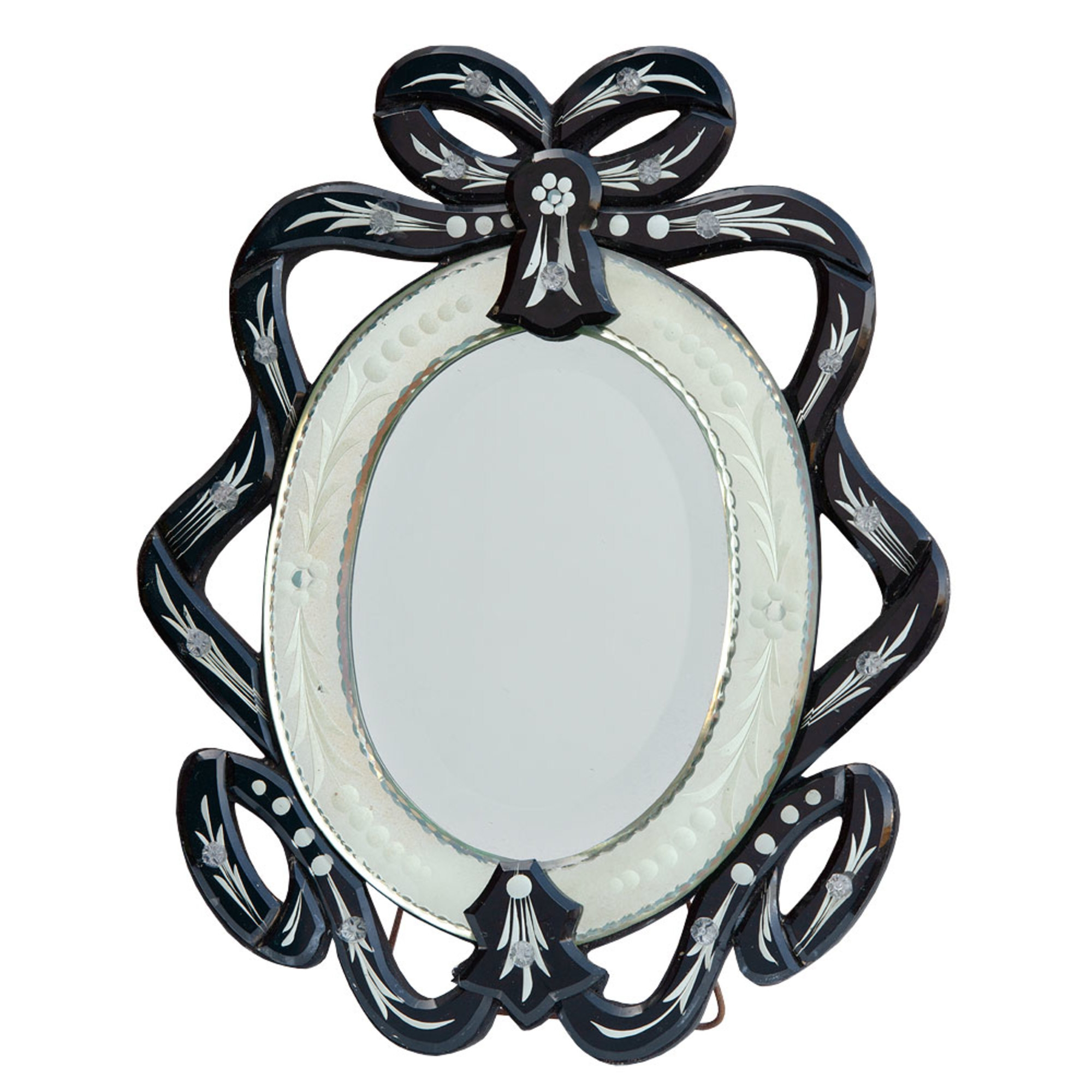 Venetian Ribbon Clear & Black Etched Oval Table or Wall Mirror
