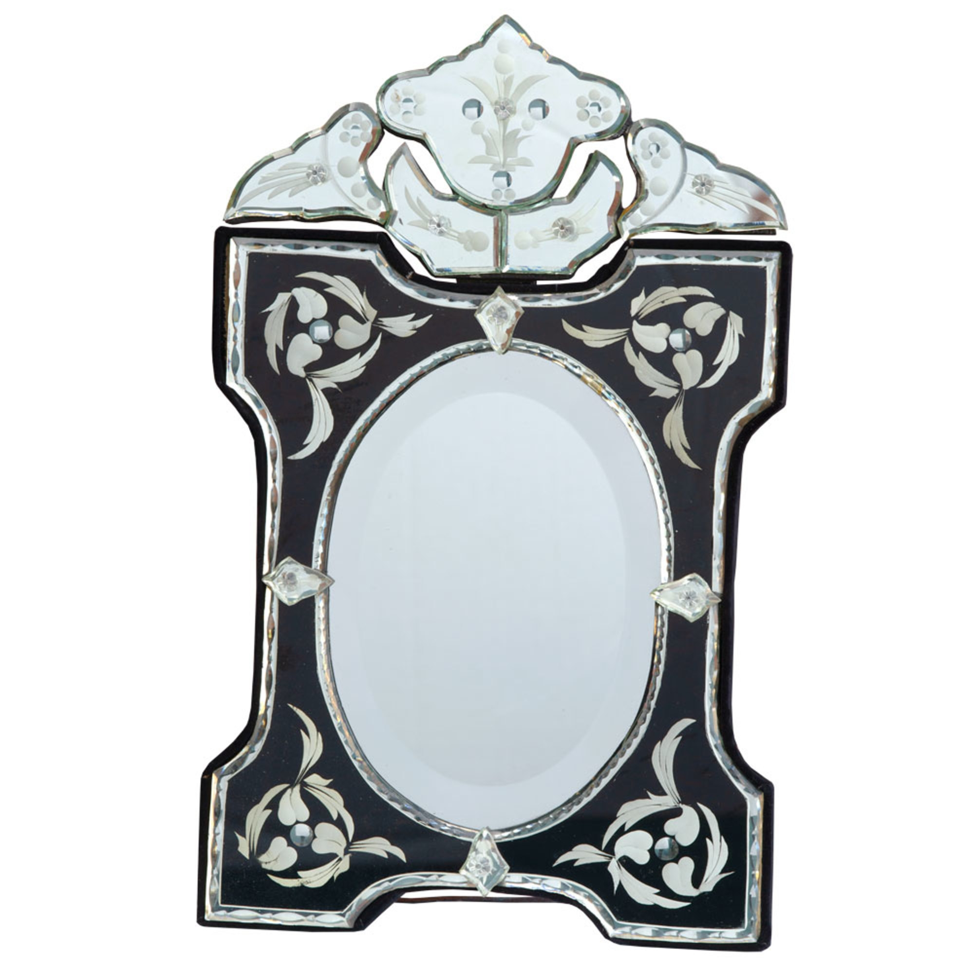 Venetian Scalloped & Arched Black & Clear Table or Wall Mirror