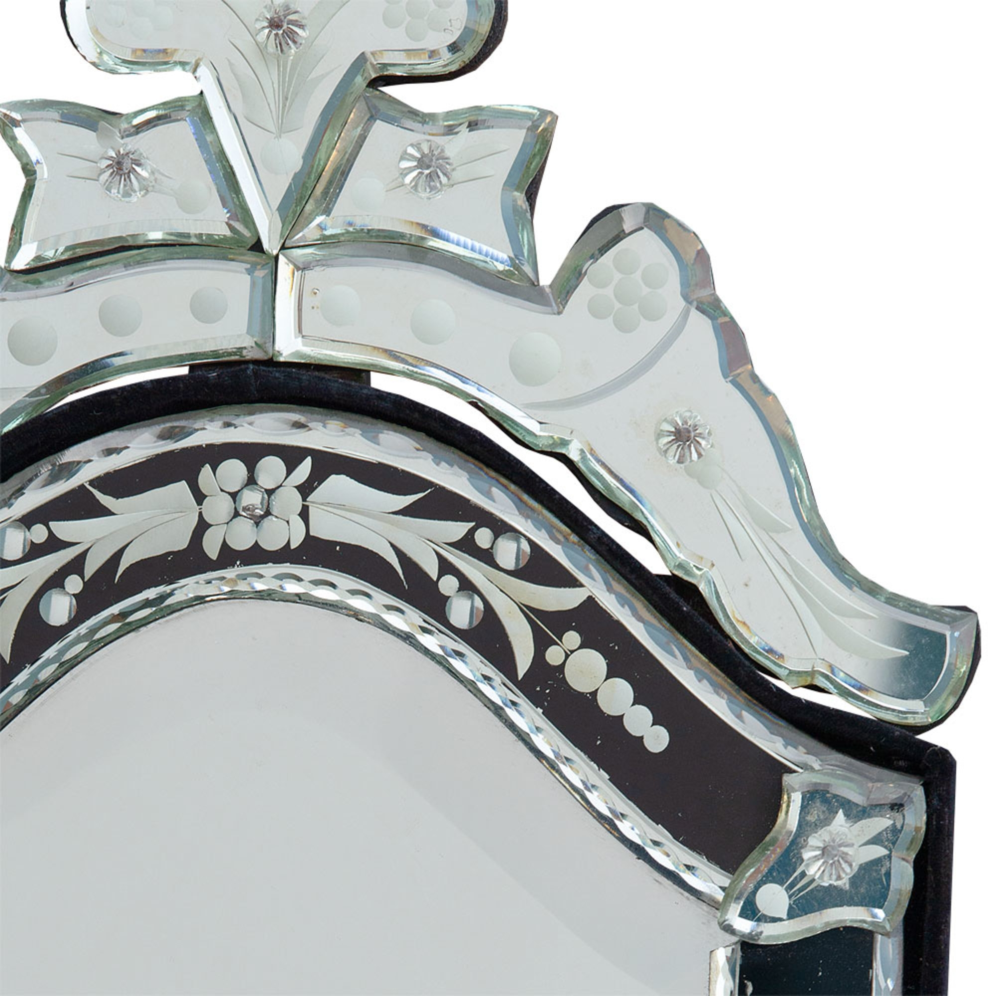 Venetian Arched Black & Clear Bevelled Table or Wall Mirror