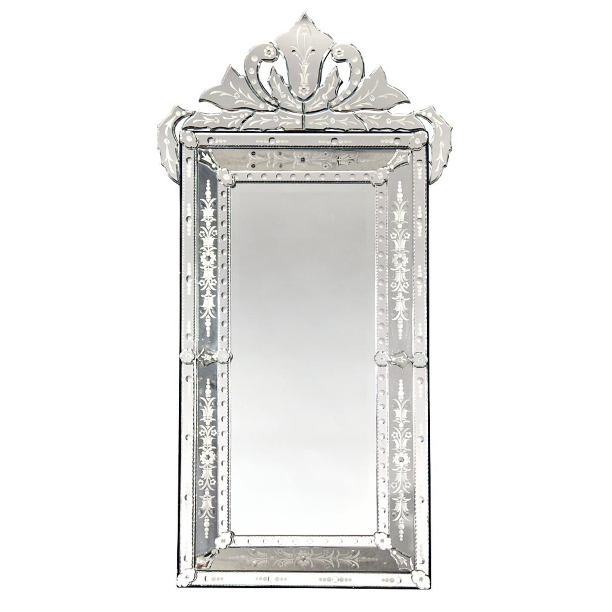 Vintage Venetian Etched Wall Mirror