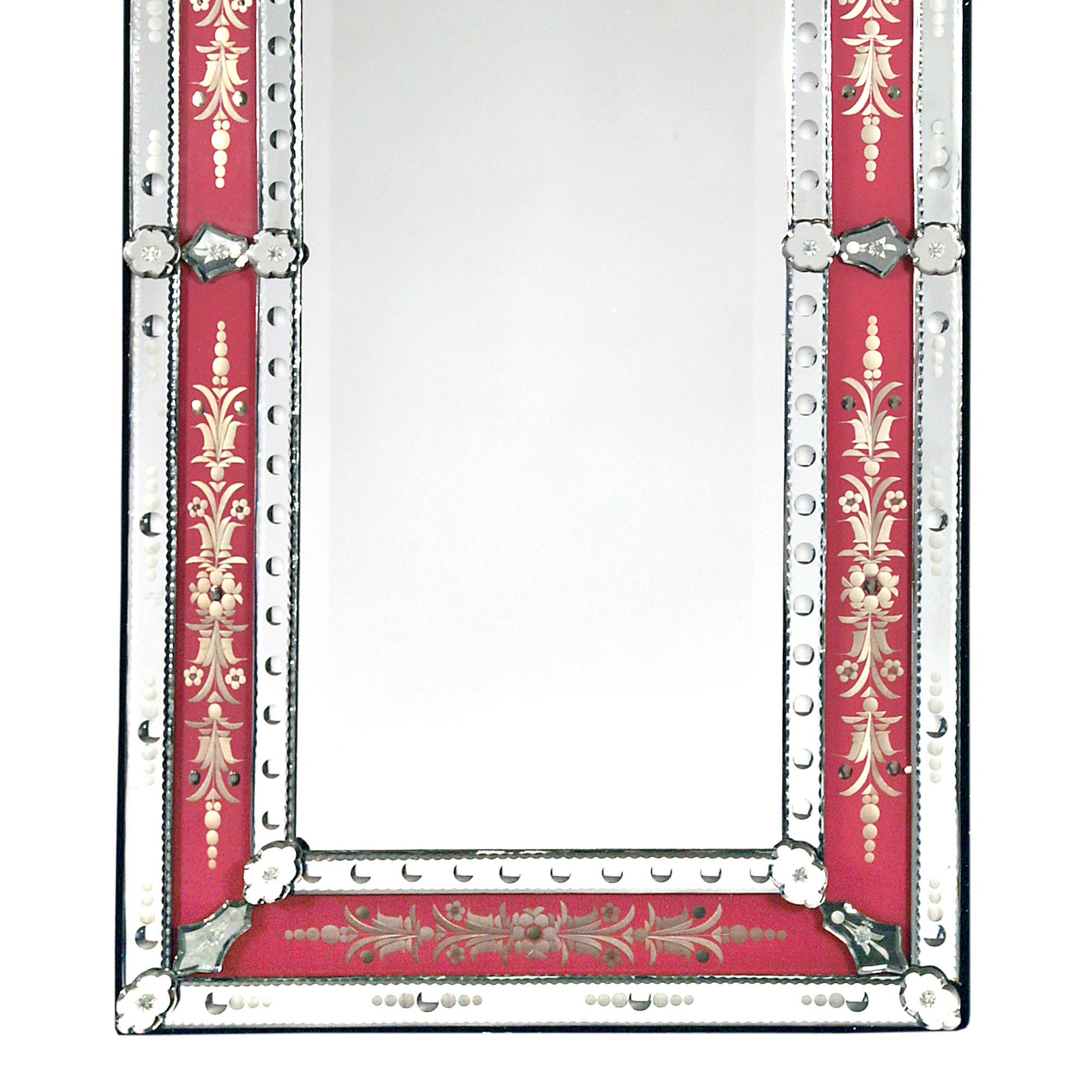 Venetian Etched Wall Mirror - Pink and Clear