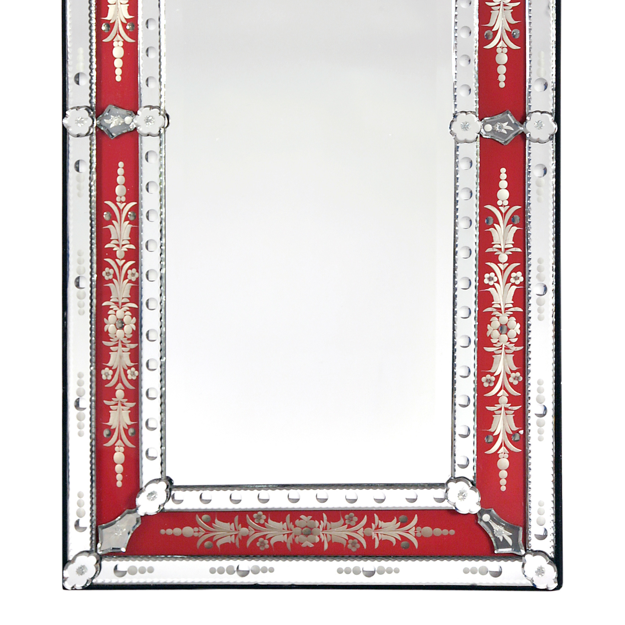 Venetian Etched Wall Mirror - Red and Clear