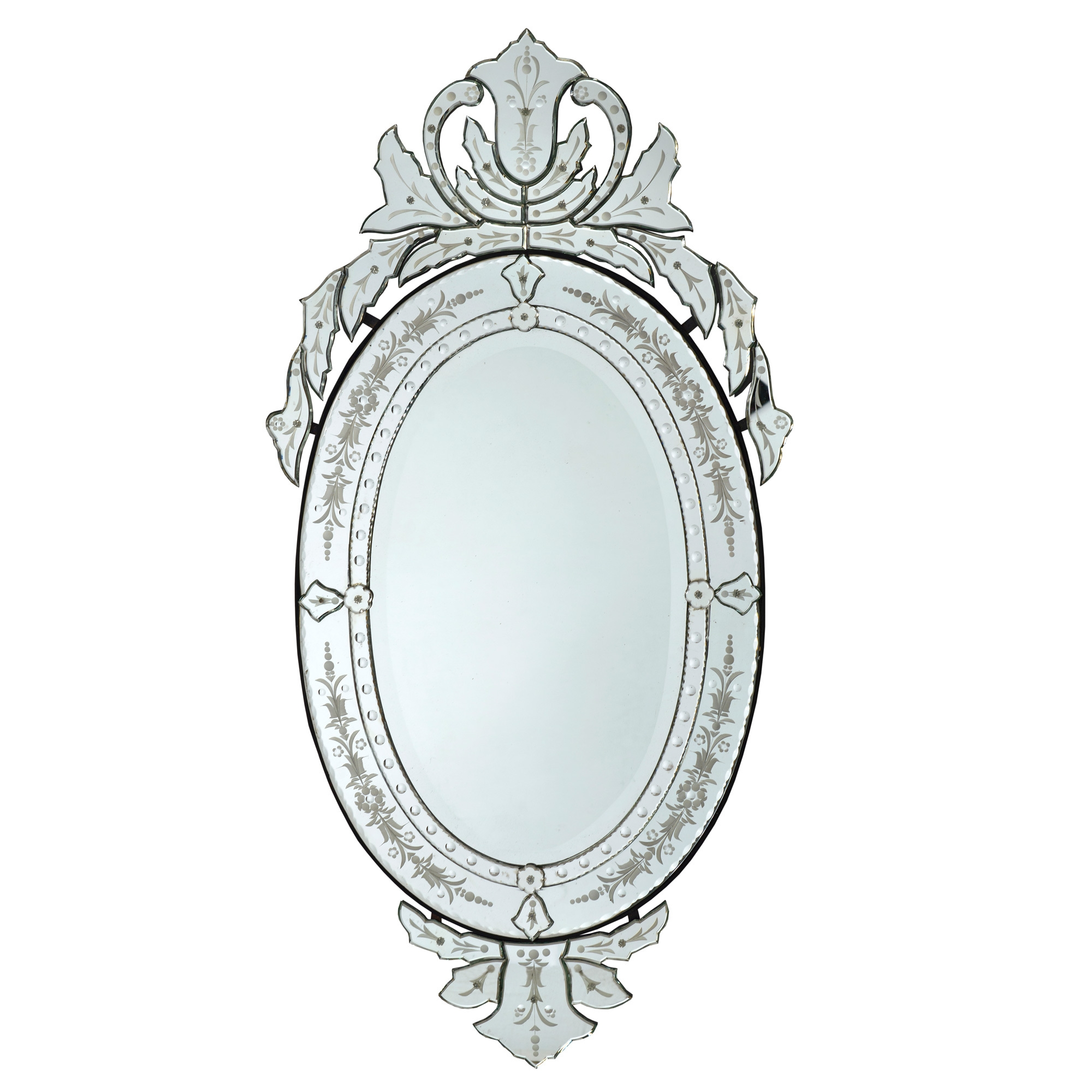 Venetian Etched Oval Wall Mirror