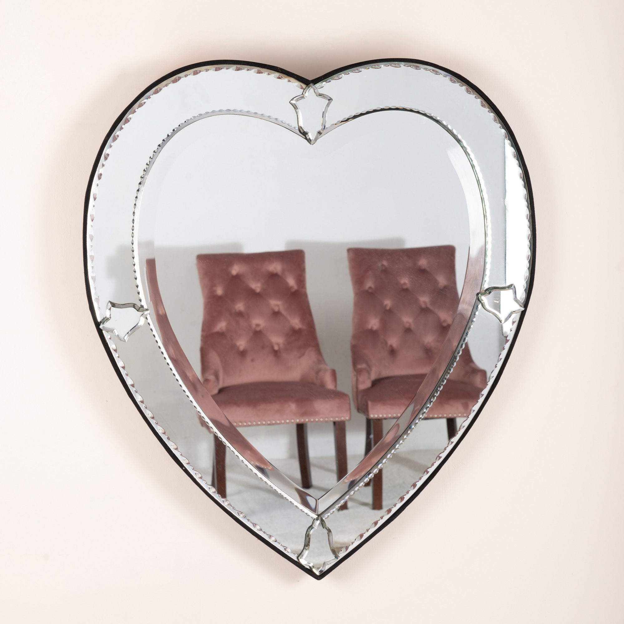 Venetian Heart Etched Wall Mirror