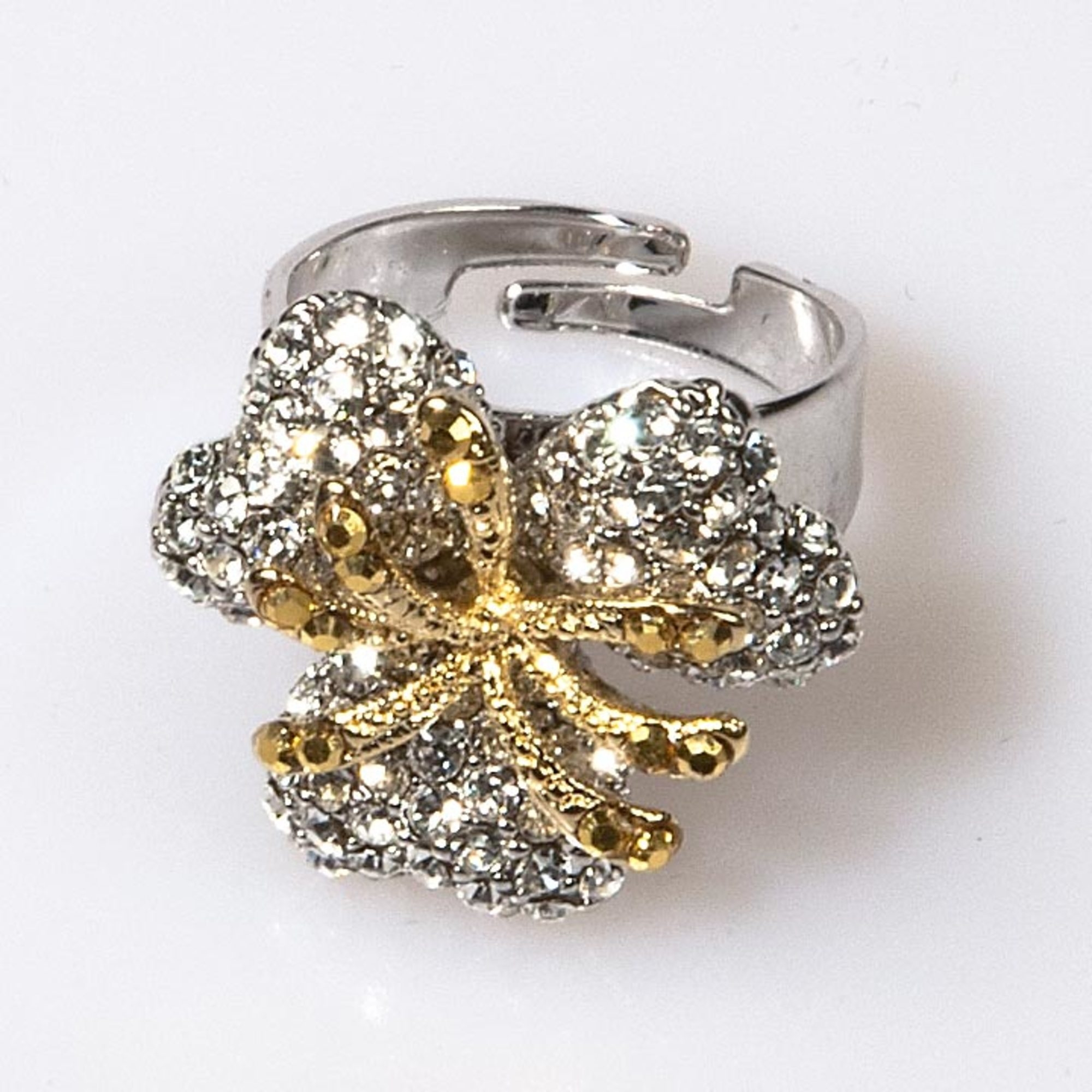 Crystal Triple Leaf Flower Ring - Small