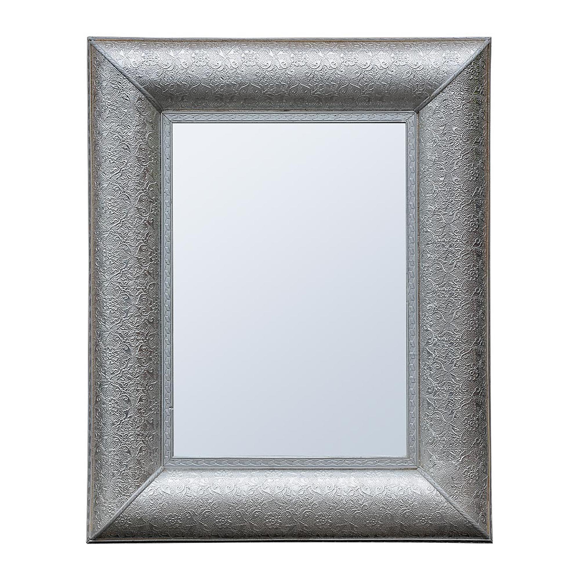 Chaandhi Kar Metal Embossed Mirror - Silver