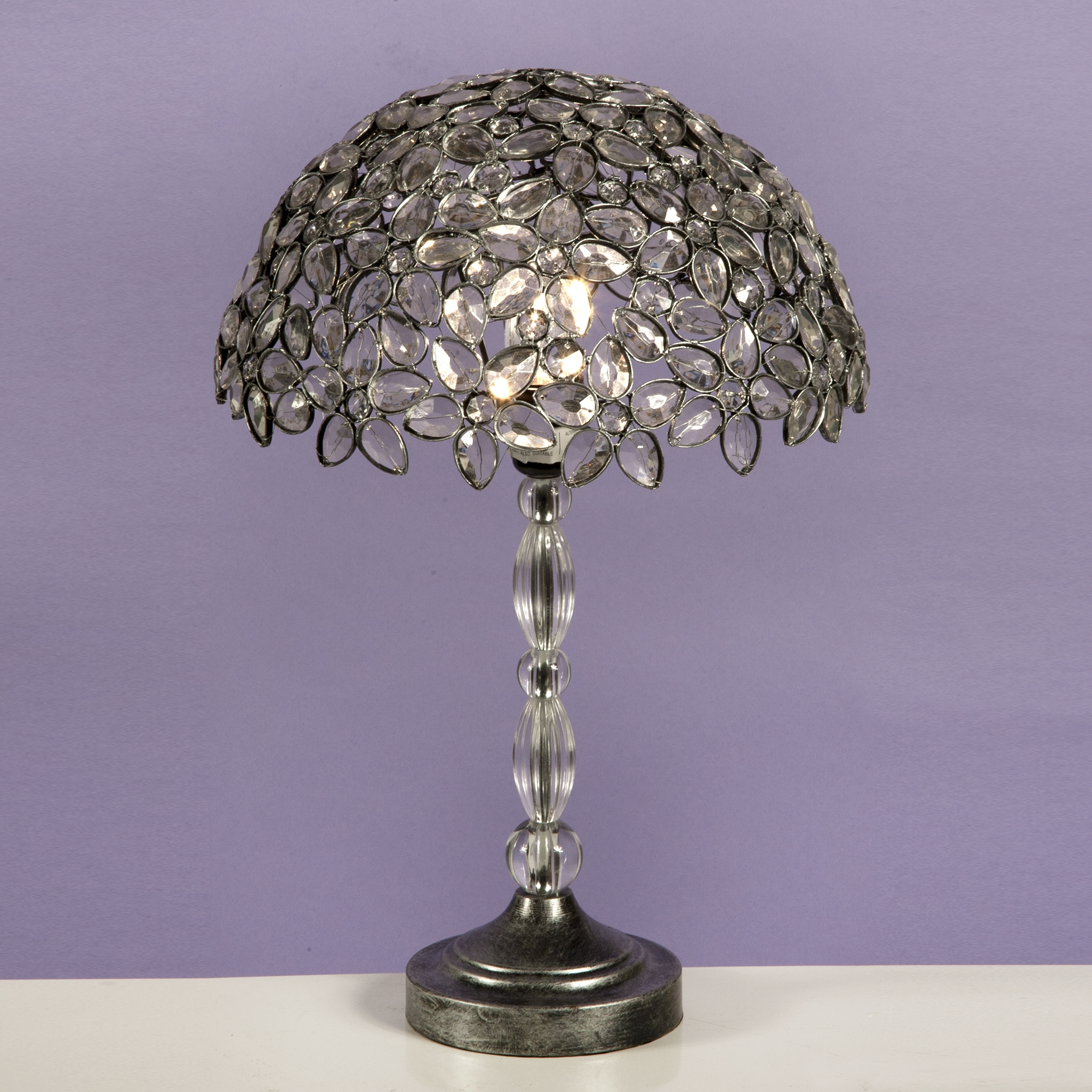 Jewelled Table Lamp - Antique Silver