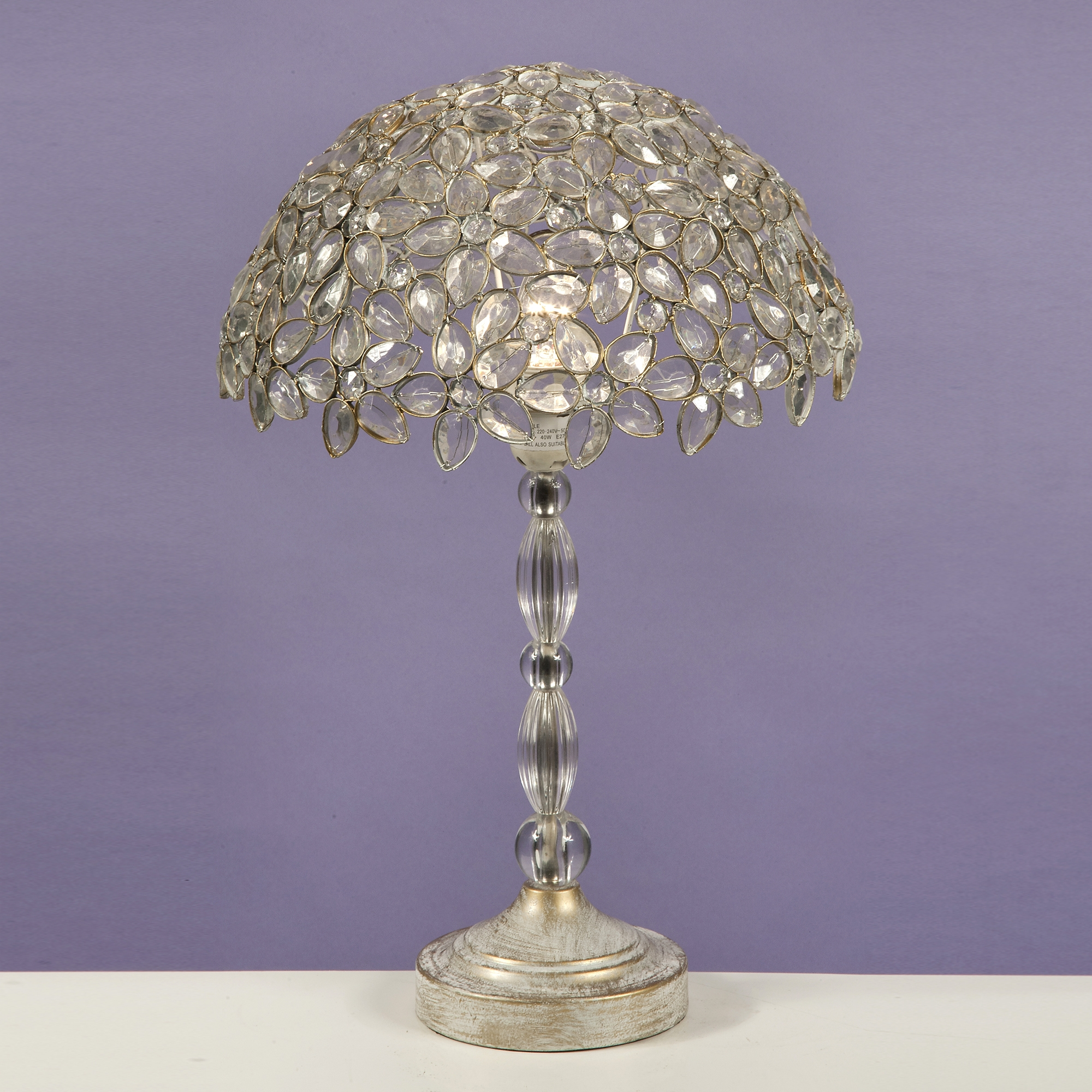 Jewelled Table Lamp - Antique White