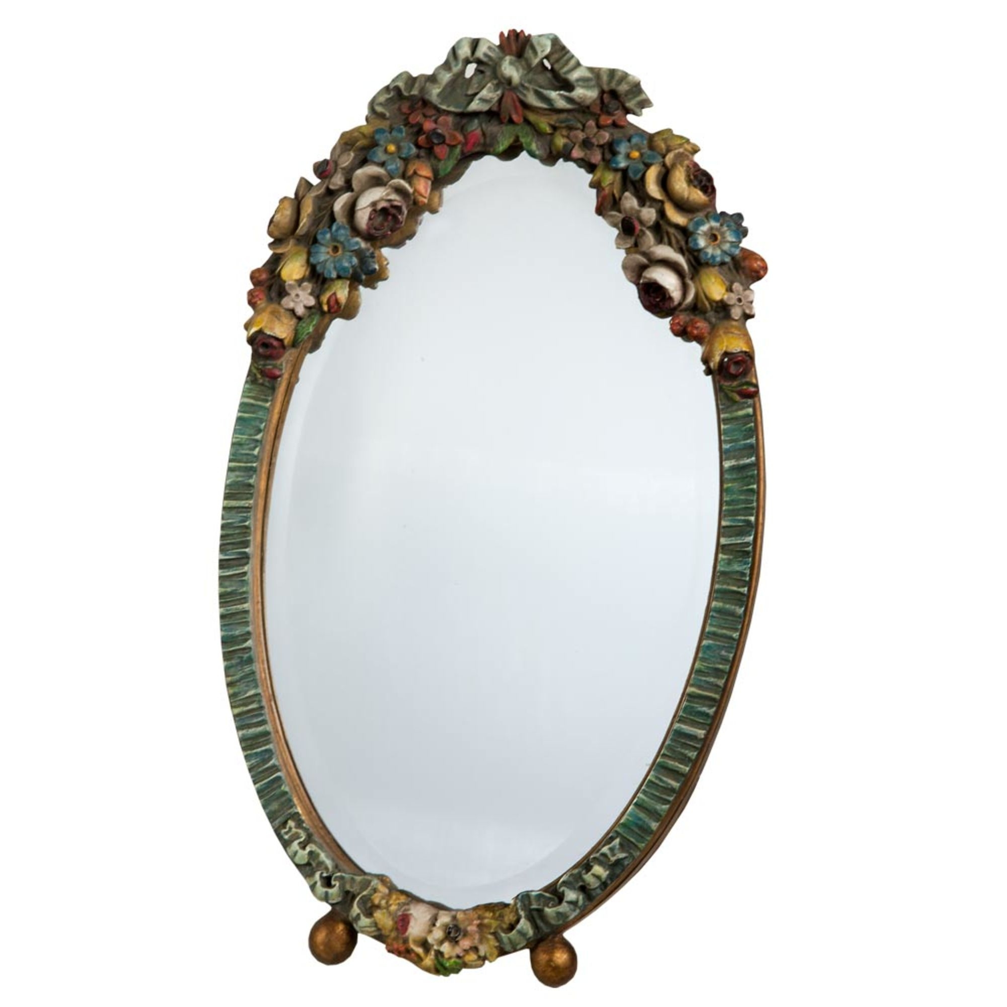Barbola Floral Multicolour Oval Bevelled Decorative Table or Wall Mirror
