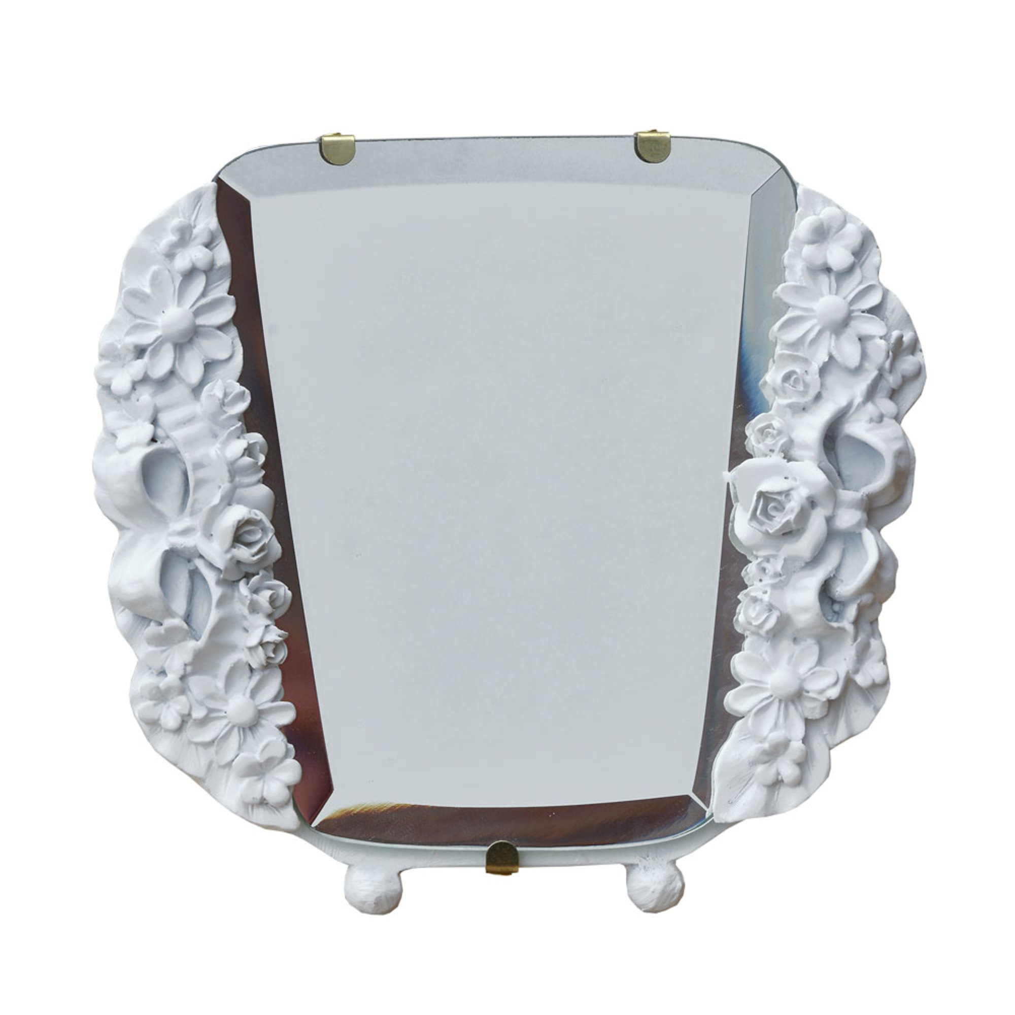 Barbola Floral White Clay Paint Decorative Table or Wall Bedroom Mirror