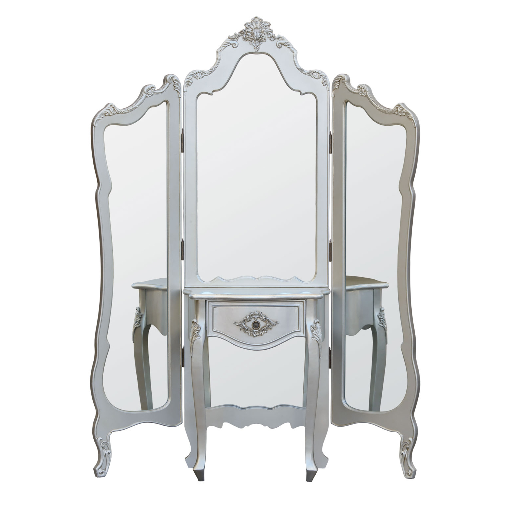 Boudoir Provence Mirrored Triple Screen - Silver