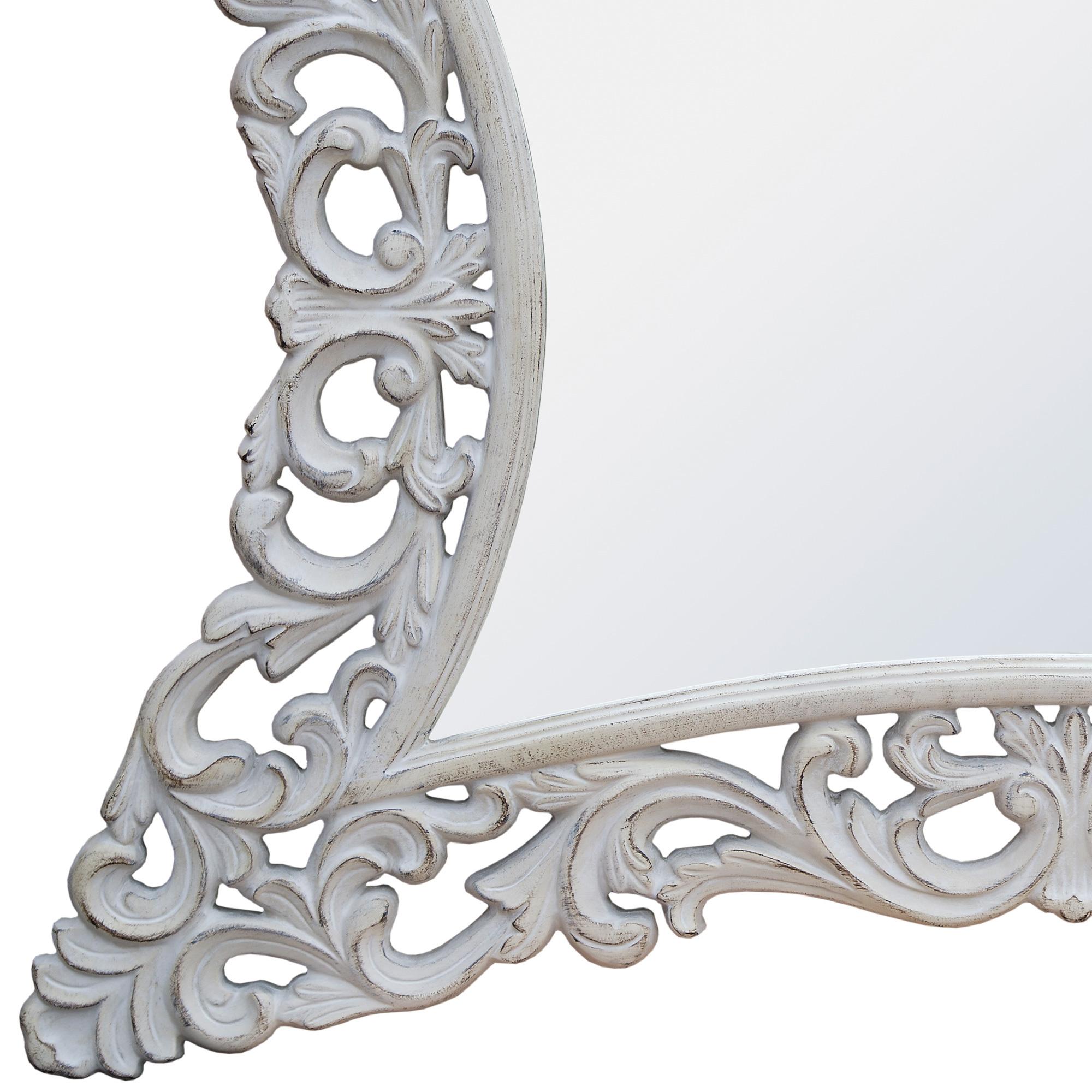 Rococo Style Boudoir Provence Antique White Decorative Wall Bedroom Mirror