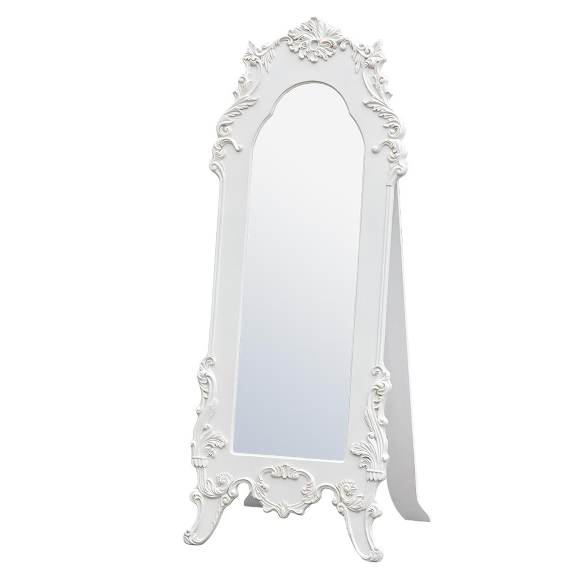 Rococo Provence Antique White Tall Full Length Freestanding Bedroom Mirror