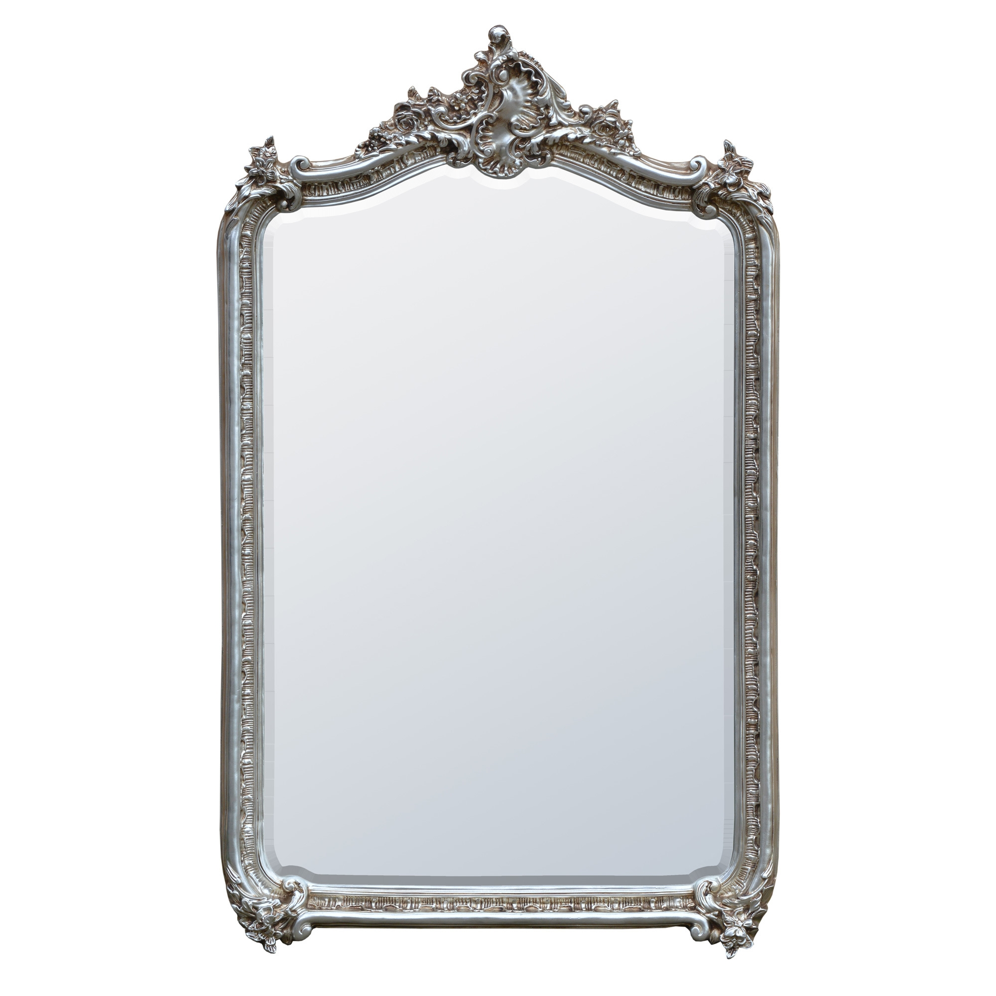 Claudia French Rococo Silver Bevelled Decorative Wall Bedroom Hall Mirror
