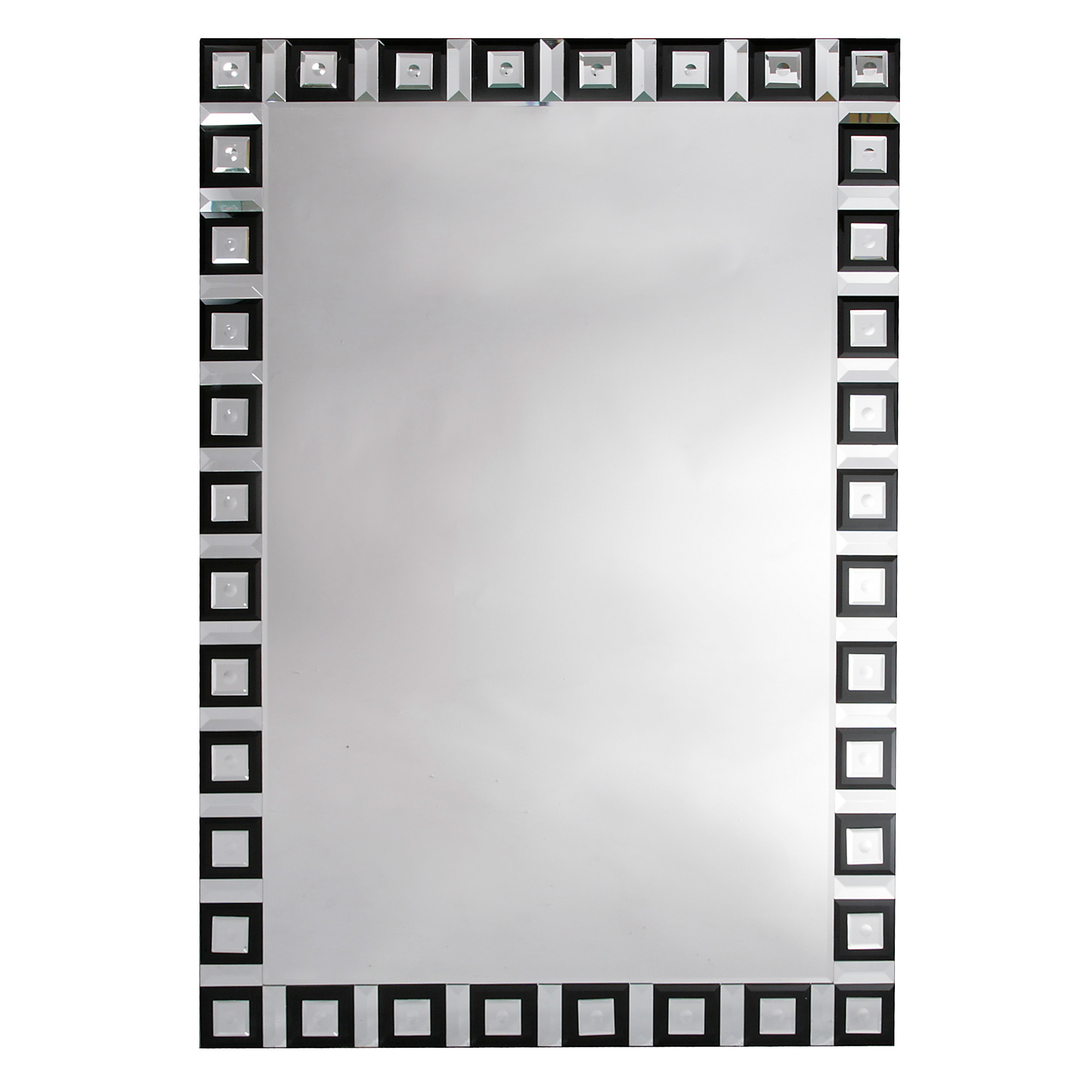 Contemporary Venetian Geometric Black & Clear Large Floor Standing Mirror